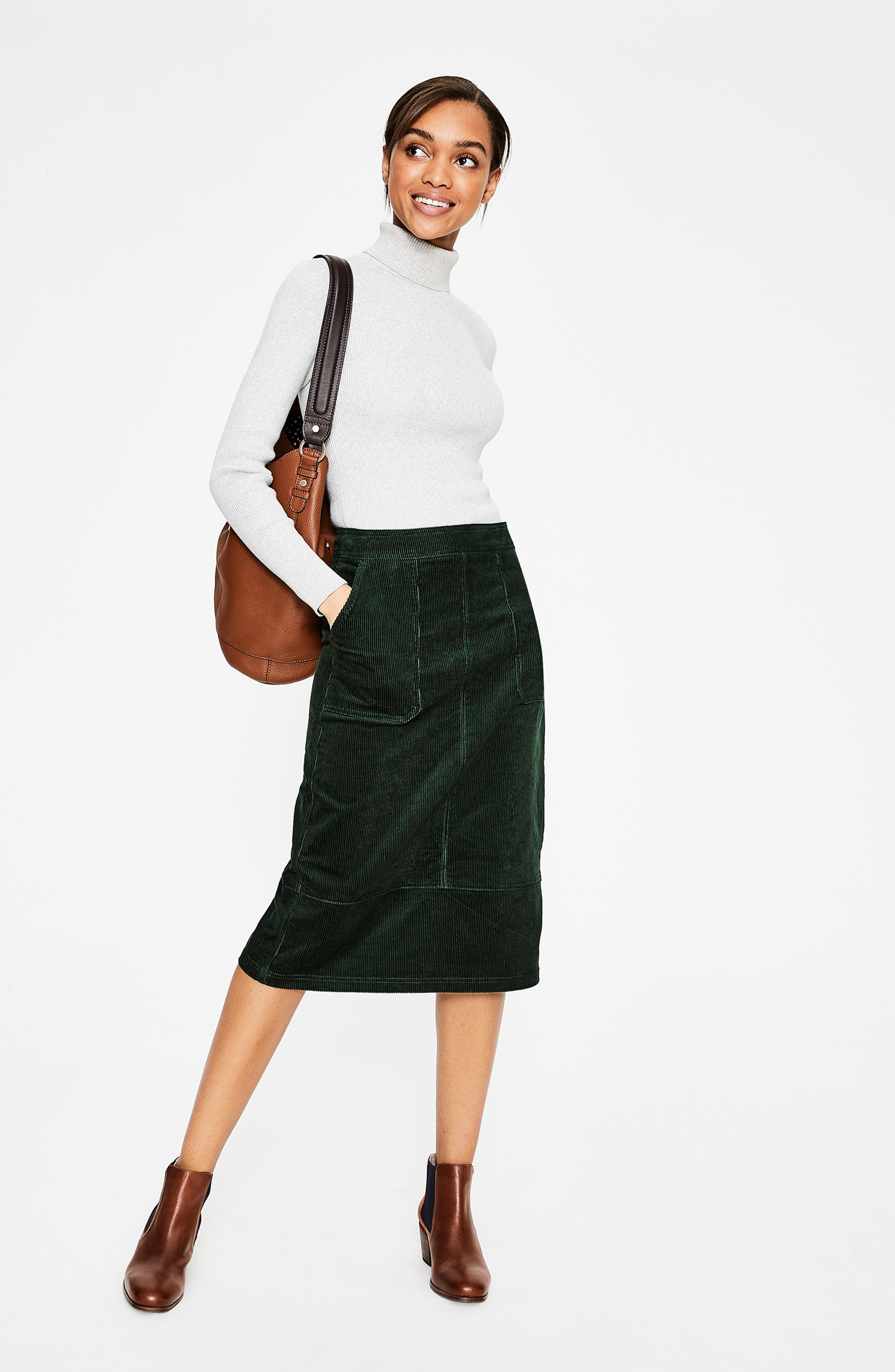 Patch Pocket Corduroy Midi Skirt,                             Alternate thumbnail 6, color,                             CHATSWORTH GREEN