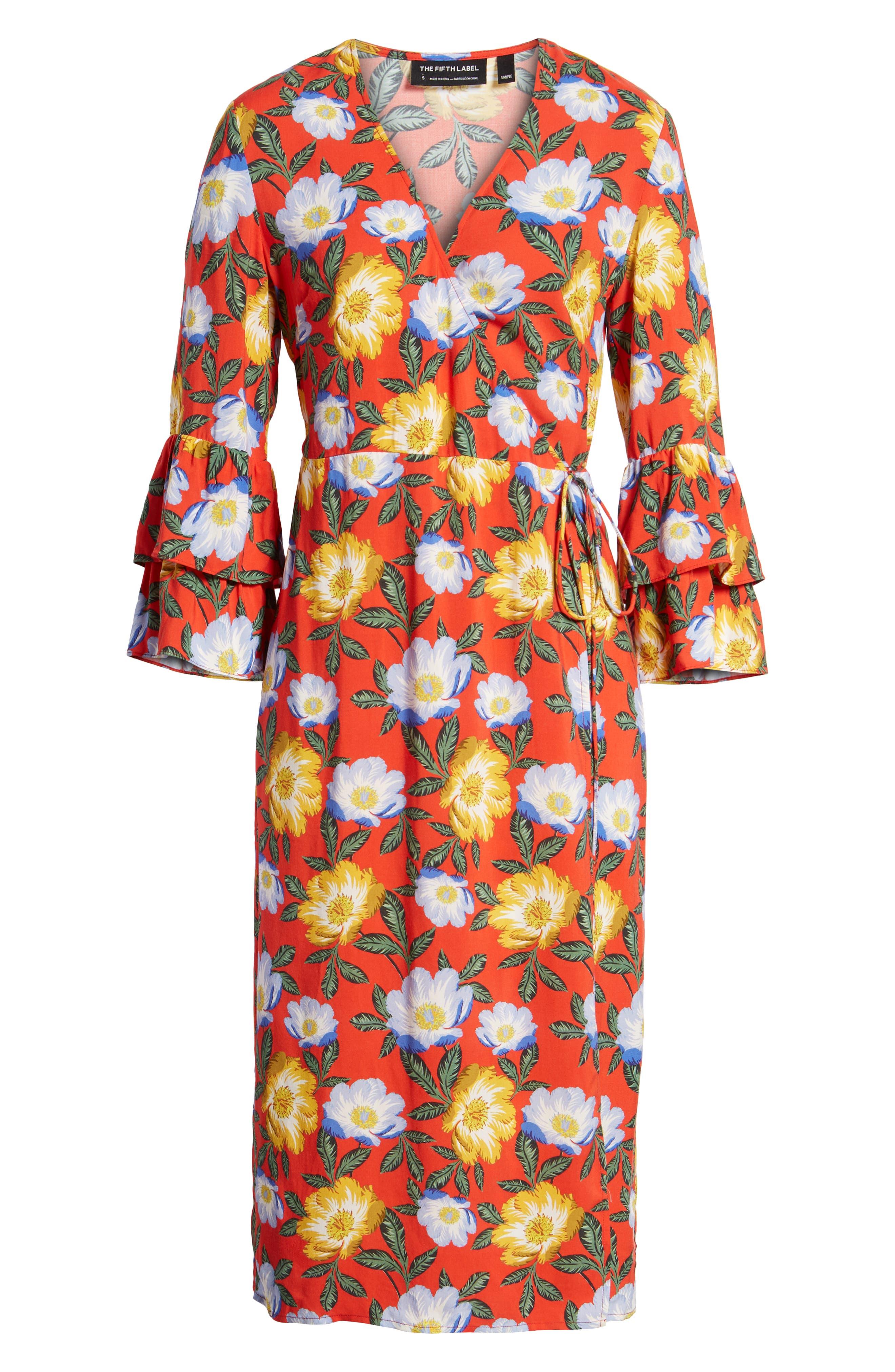 Reunion Floral Wrap Dress,                             Alternate thumbnail 7, color,                             800