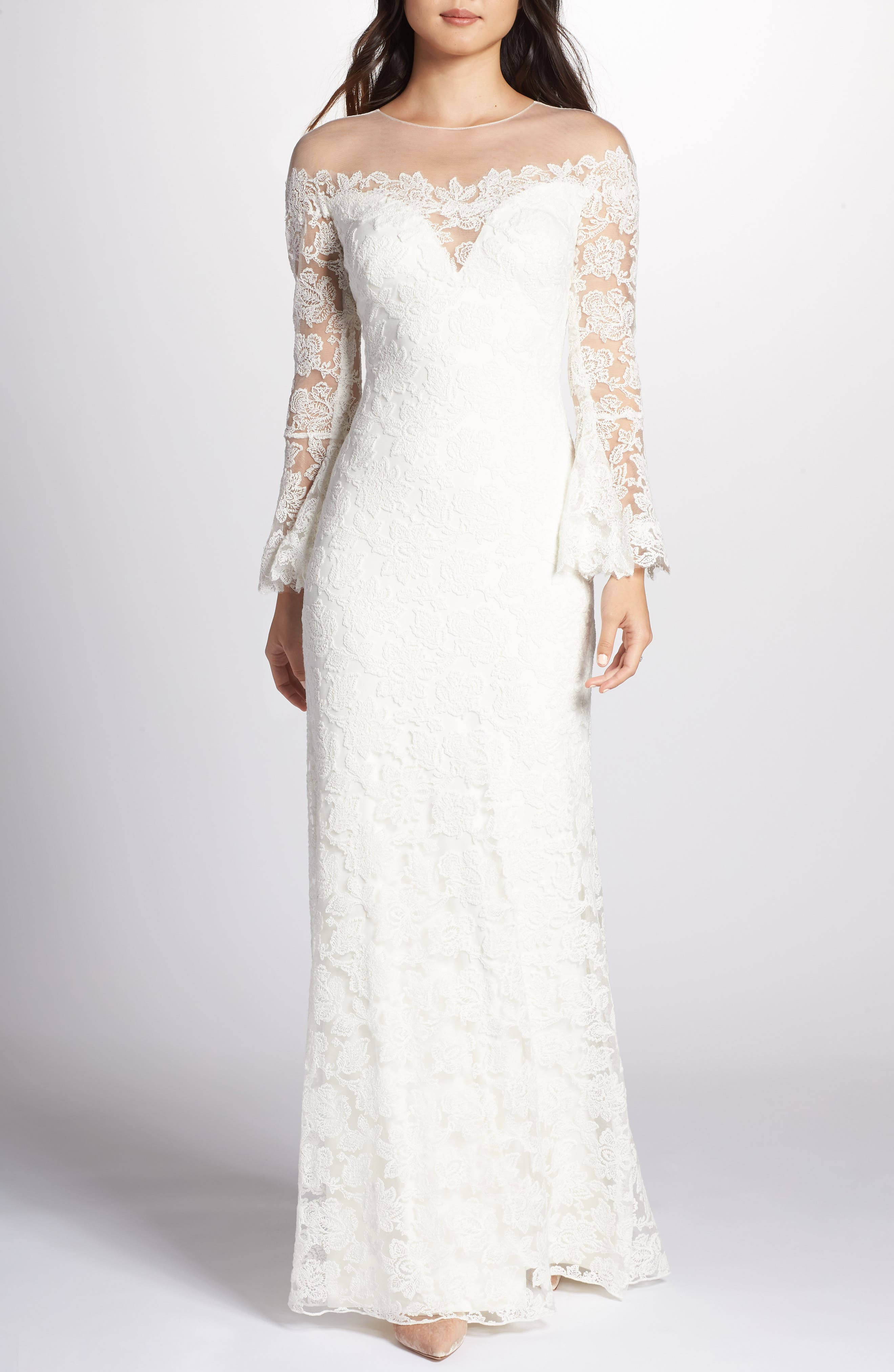 Tadashi Shoji Bell Sleeve Lace Gown, Ivory