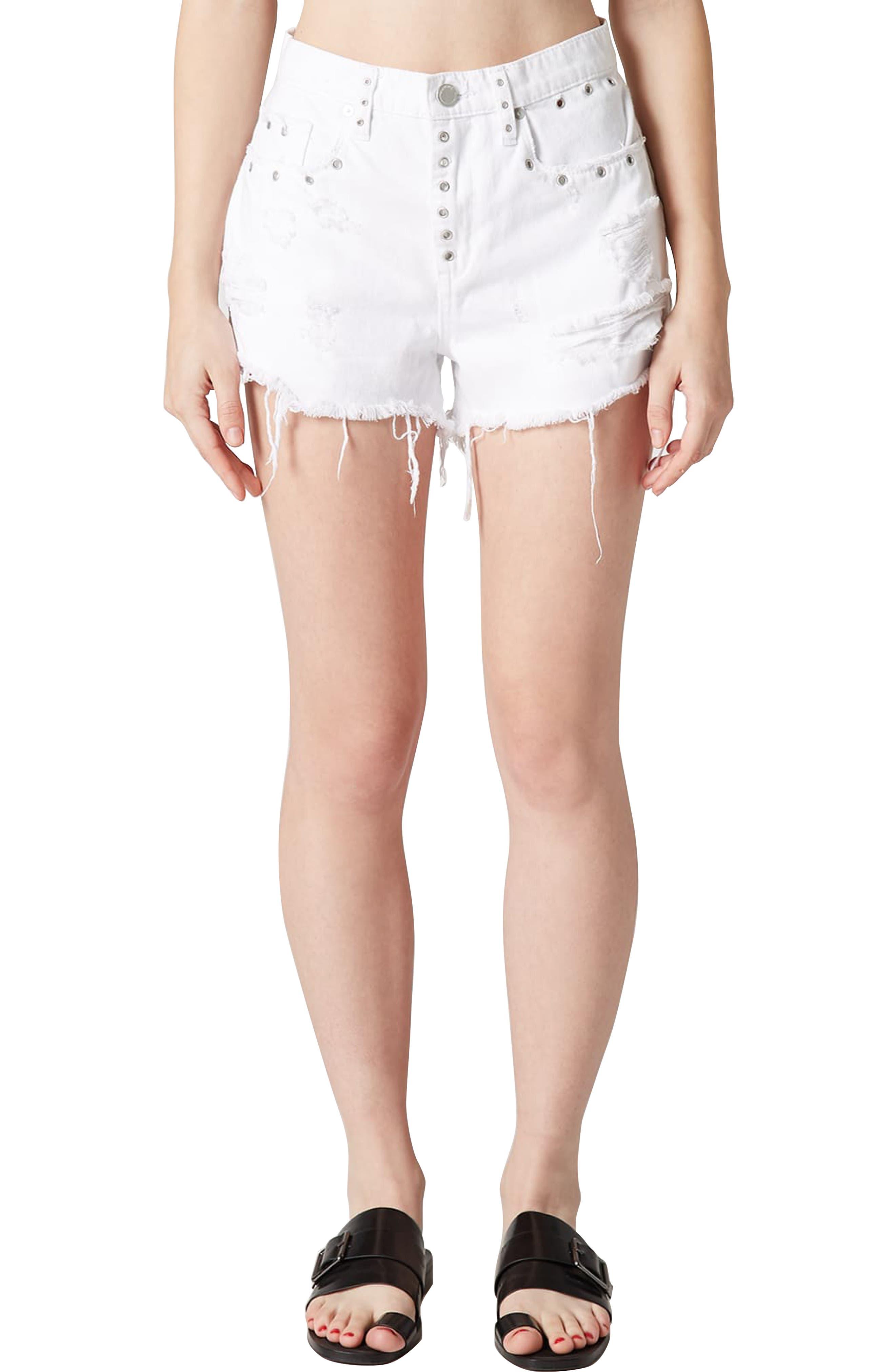 The Barrow Grommet Detail Denim Shorts,                         Main,                         color, LIGHTBOX WHITE