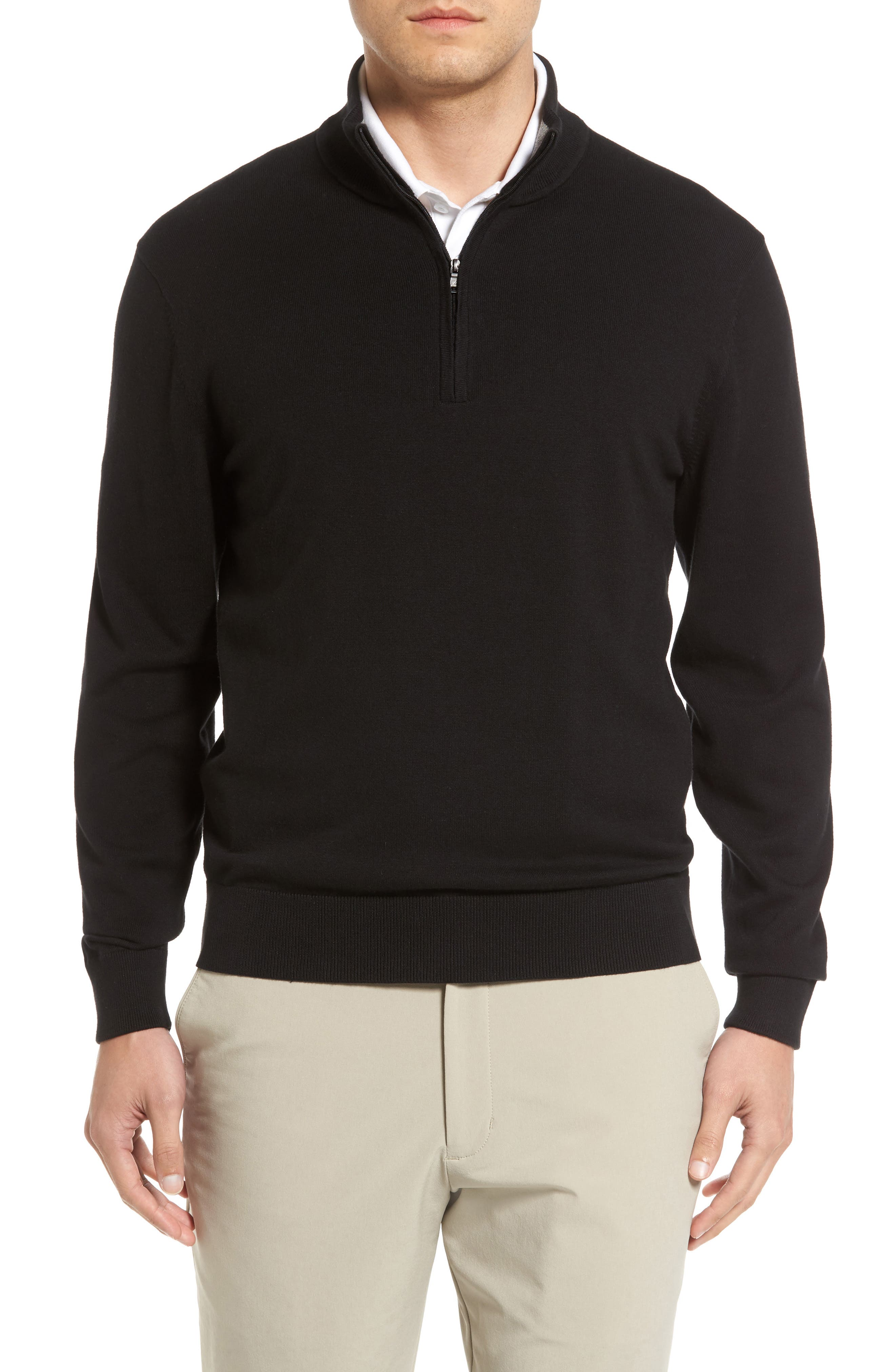 CUTTER & BUCK,                             Lakemont Half Zip Sweater,                             Main thumbnail 1, color,                             BLACK