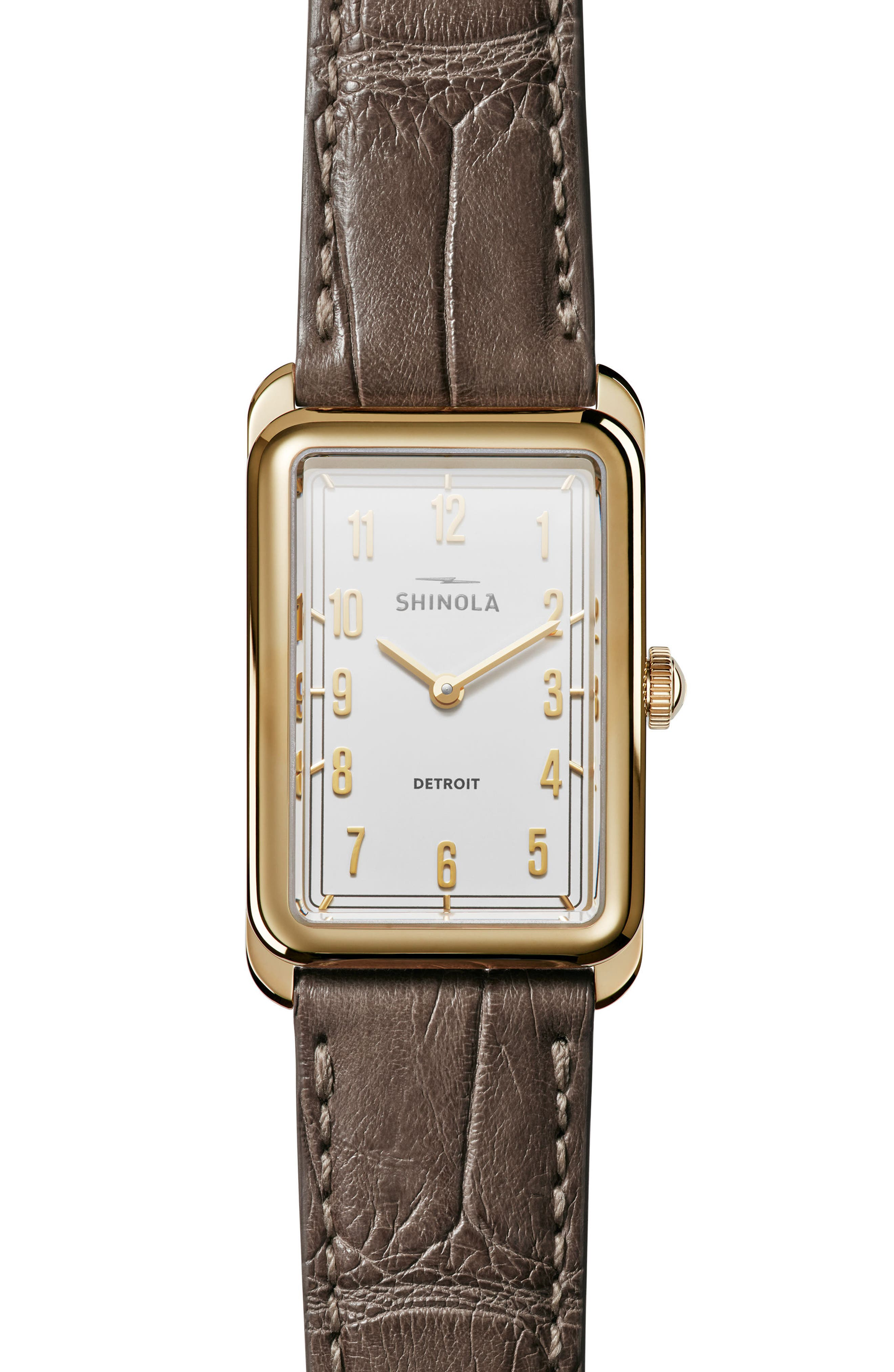 The Muldowney Rectangular Leather Strap Watch, 24mm x 32mm,                             Main thumbnail 3, color,