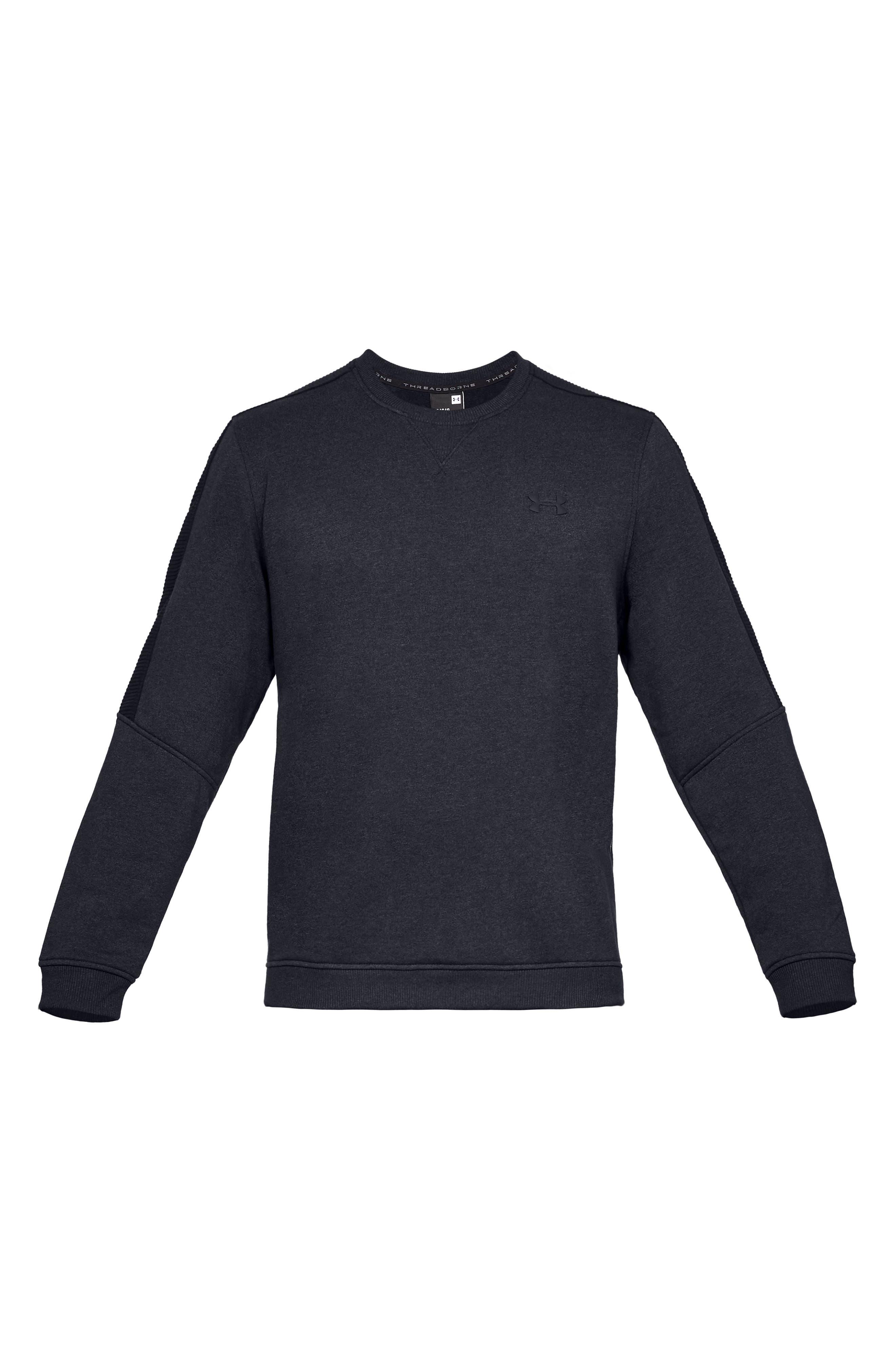 Threadborne Siro Fleece Crewneck Sweatshirt,                             Alternate thumbnail 4, color,                             BLACK/ BLACK/ BLACK