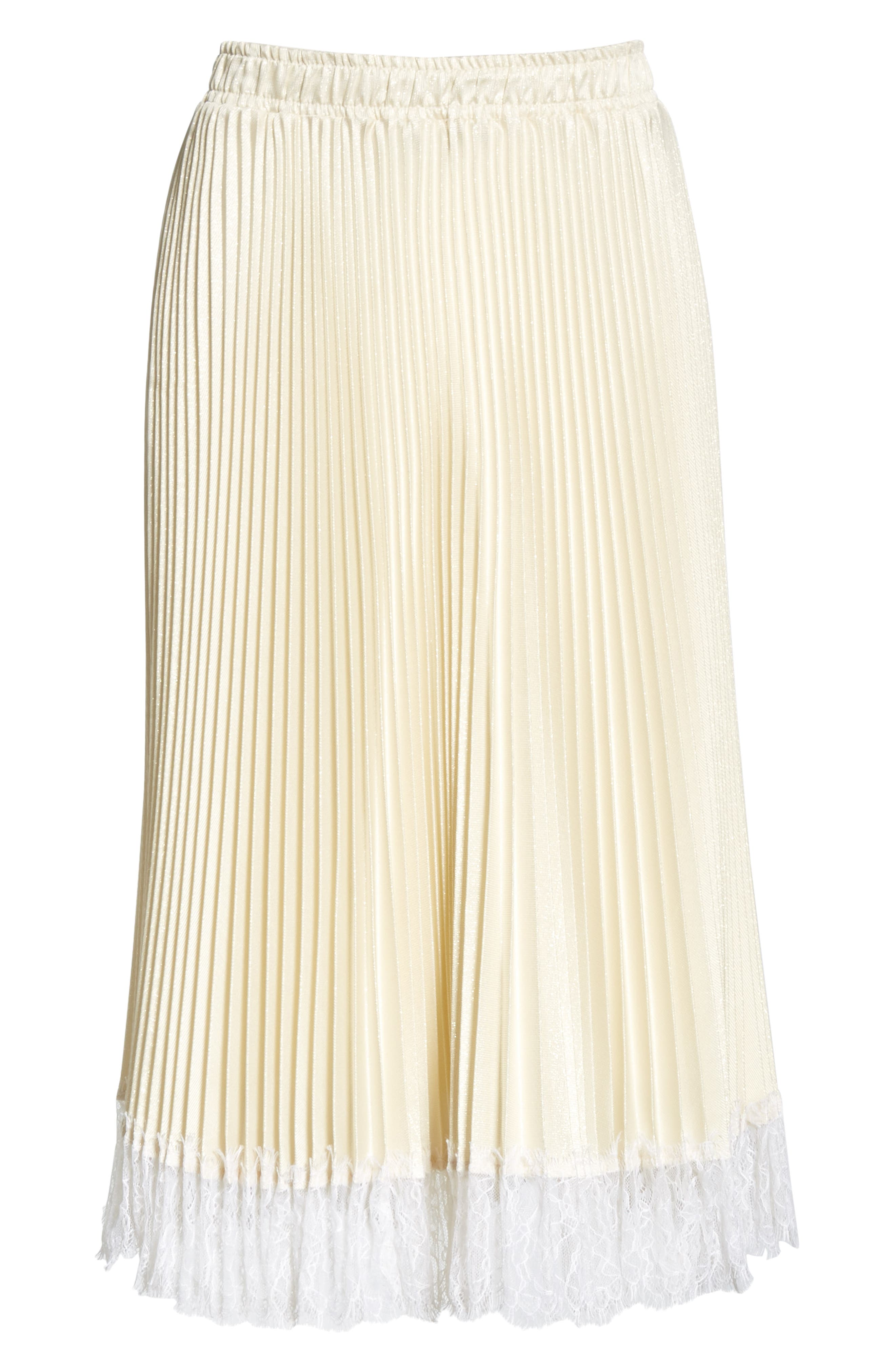Pleated Metallic Lace Trim Skirt,                             Alternate thumbnail 6, color,                             CHAMPAGNE