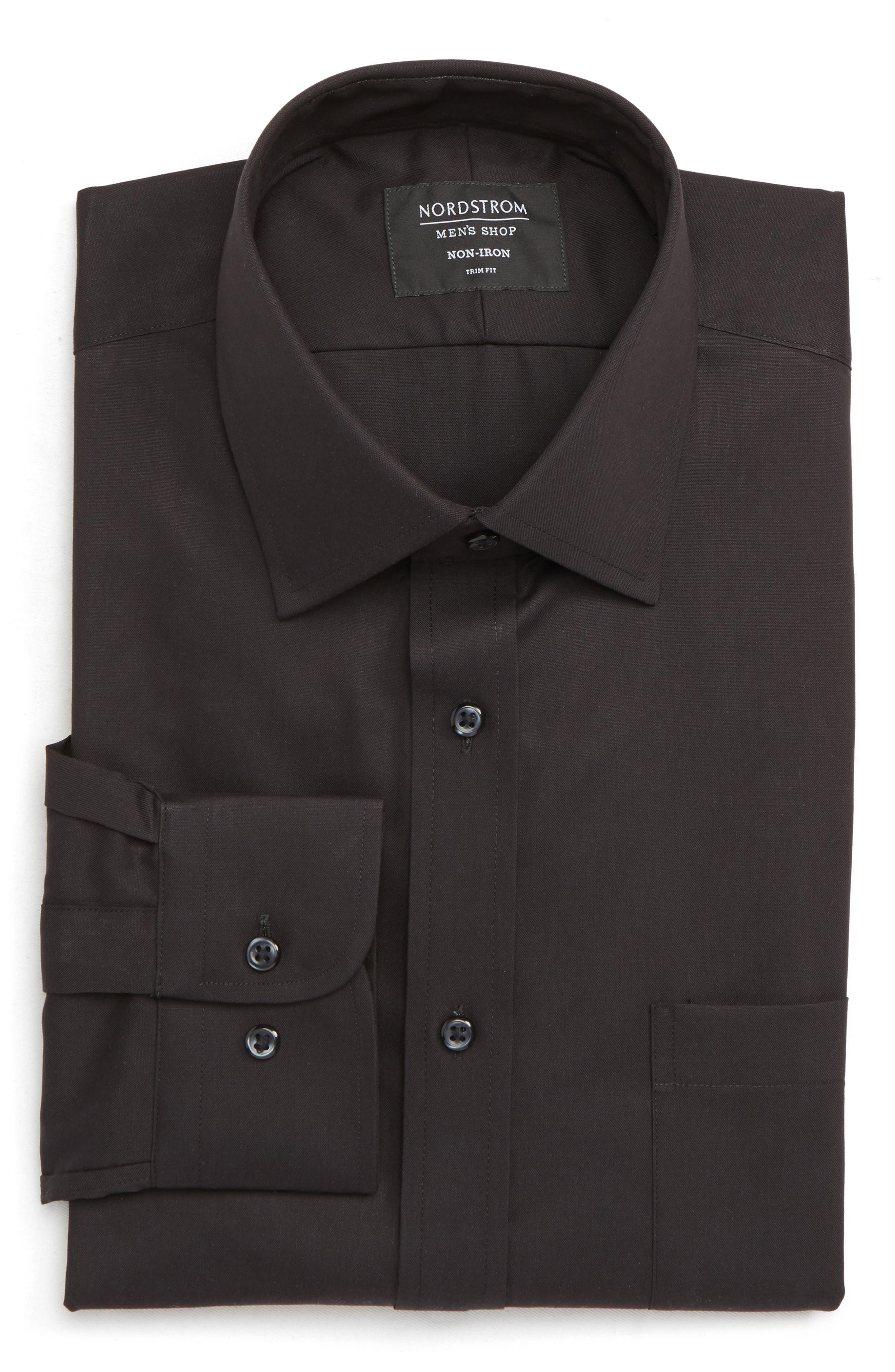 NORDSTROM MEN'S SHOP Trim Fit Non-Iron Dress Shirt, Main, color, BLACK
