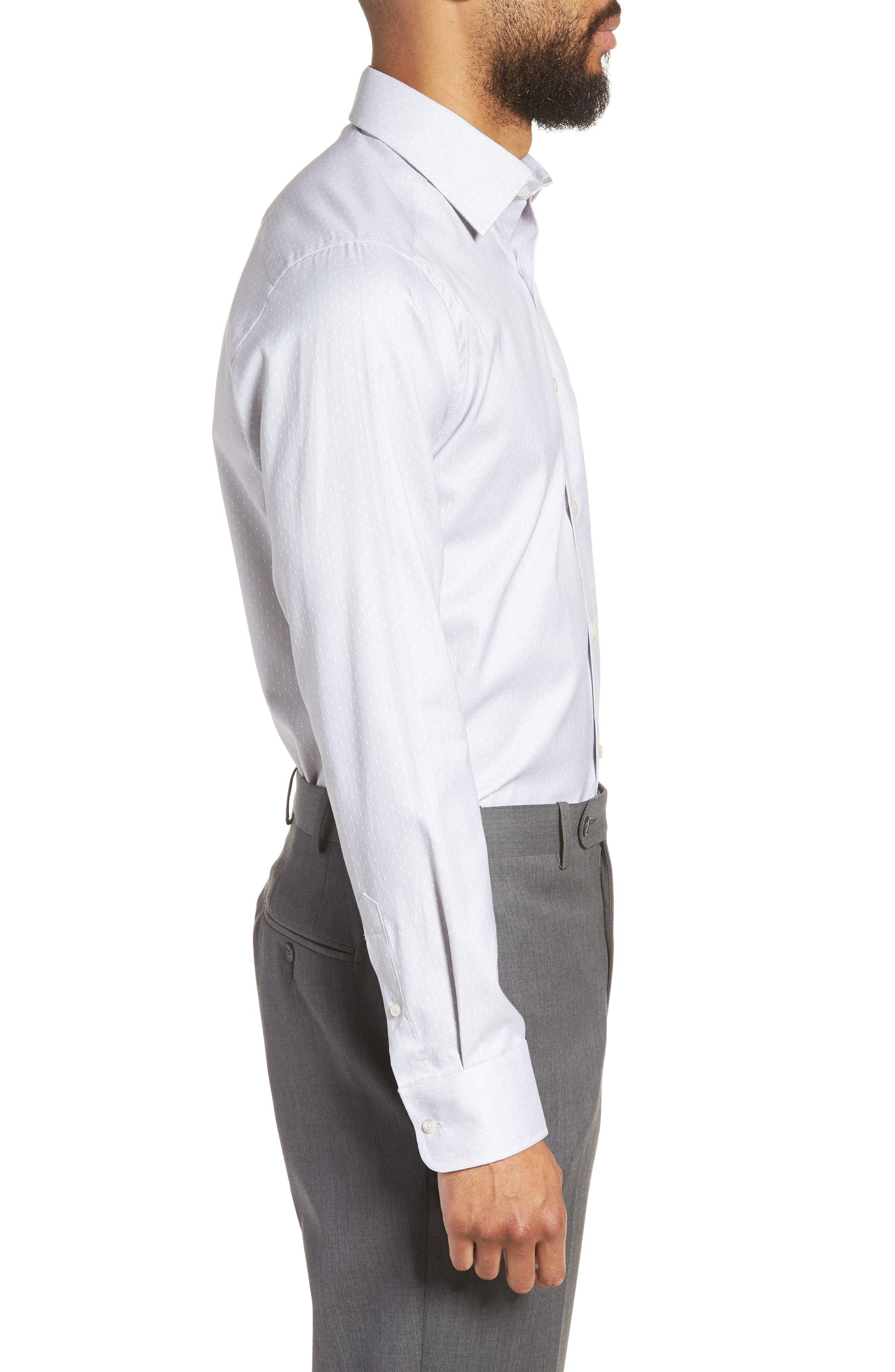 Slim Fit Dot Dress Shirt,                             Alternate thumbnail 4, color,                             GRAY