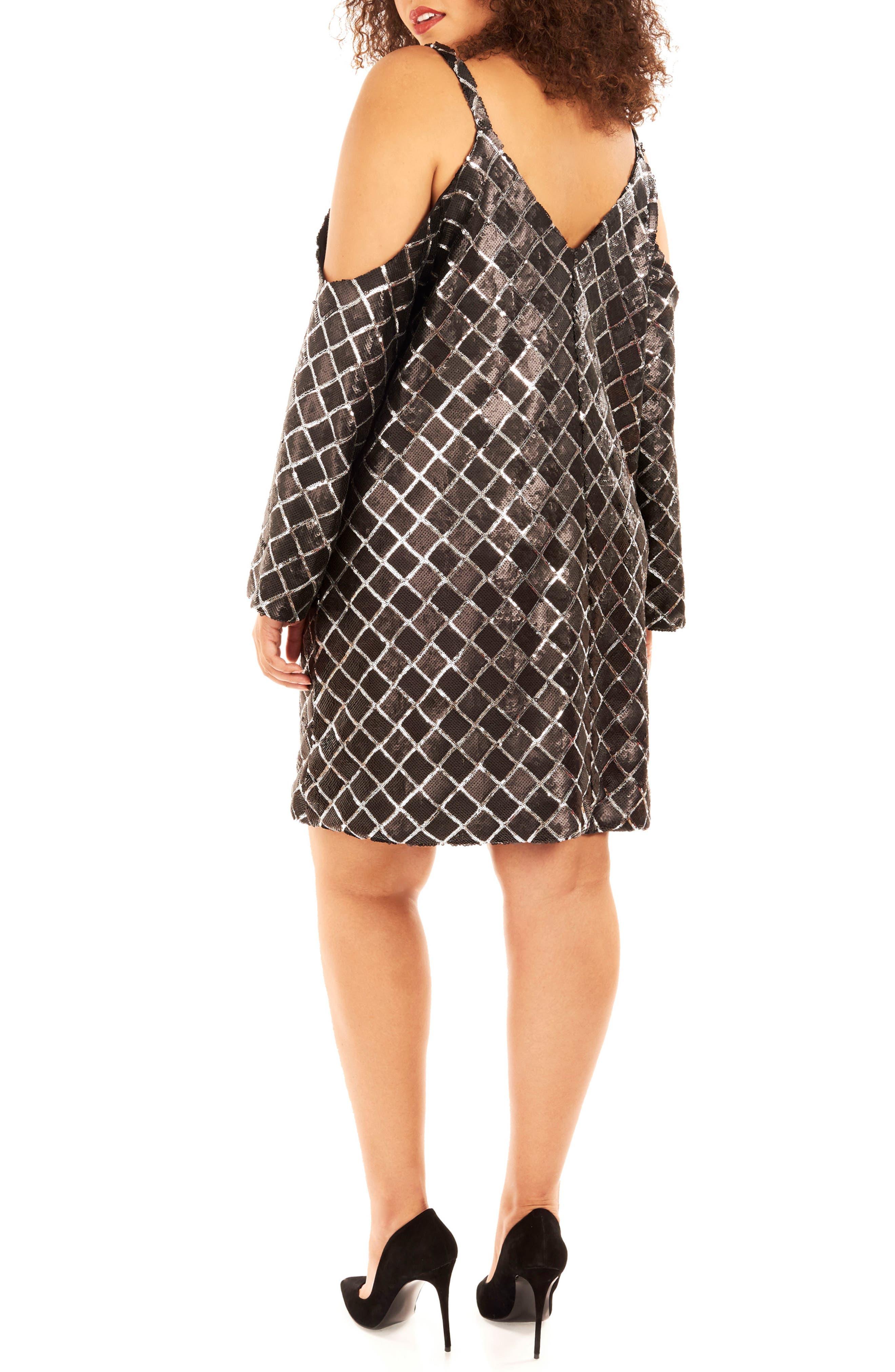 Cold Shoulder Sequin Dress,                             Alternate thumbnail 2, color,                             019