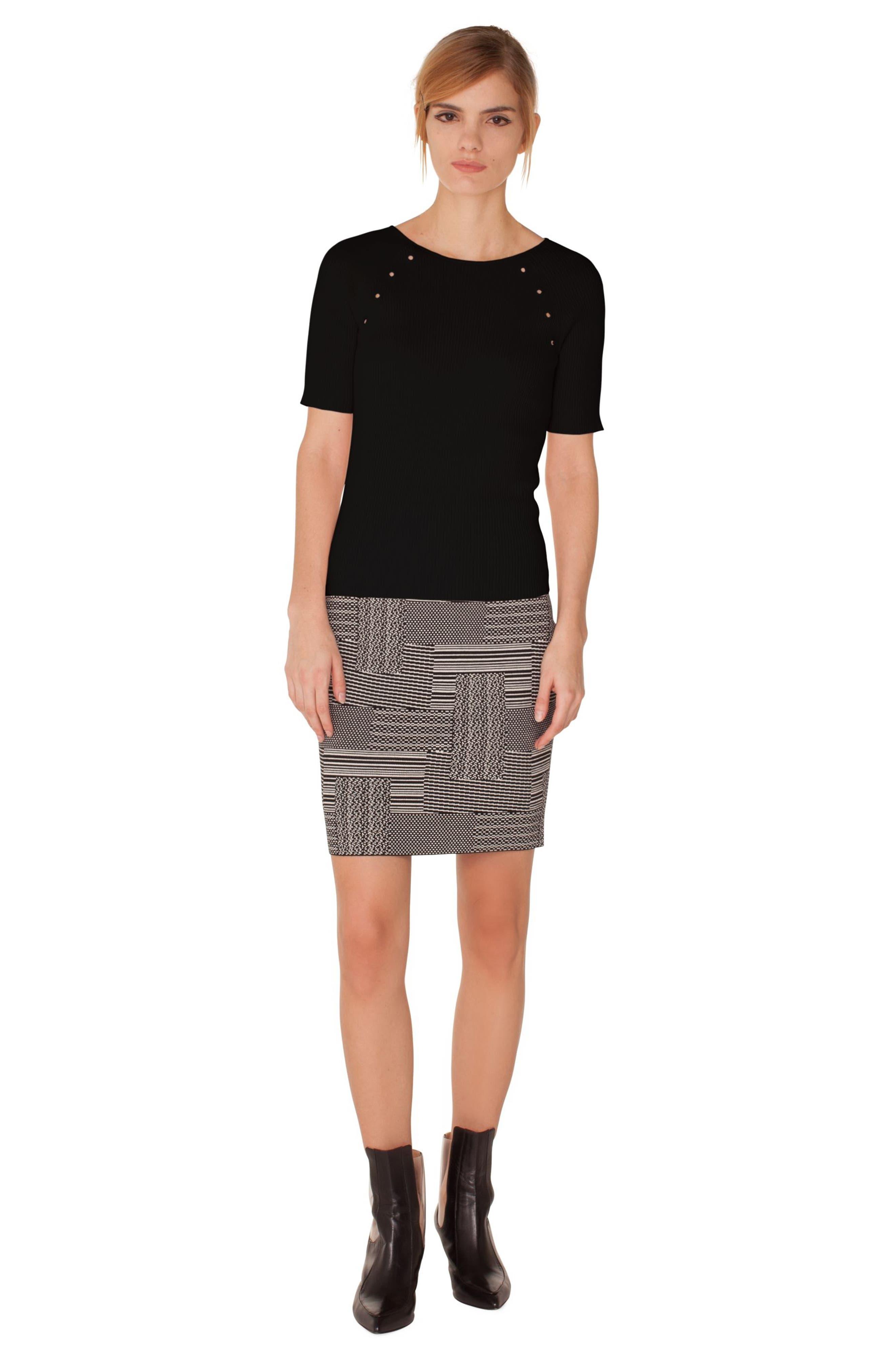 Patchwork Jacquard Miniskirt,                             Alternate thumbnail 3, color,                             BLACK-CREAM