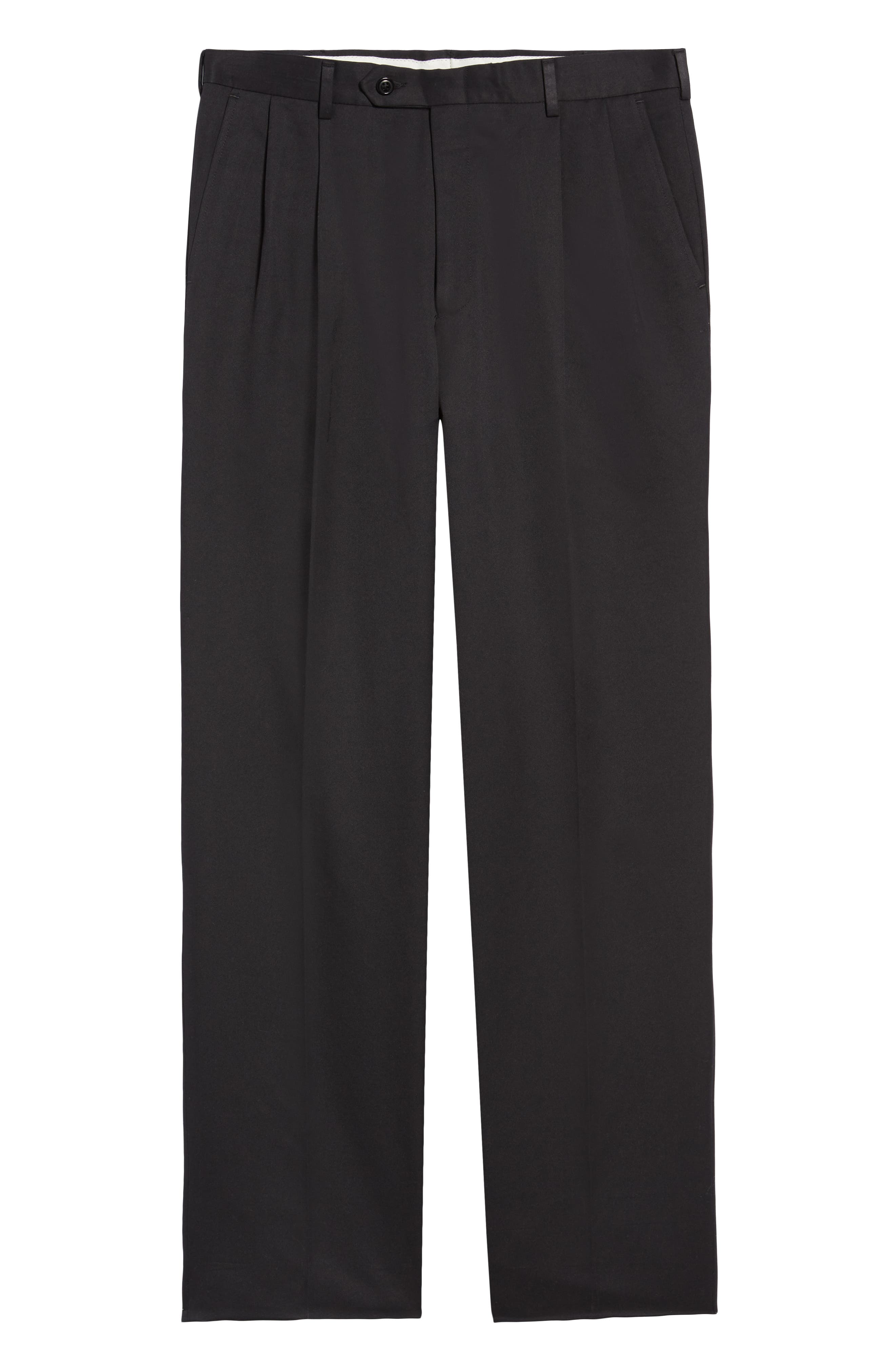 Classic Fit Pleated Microfiber Performance Trousers,                             Alternate thumbnail 6, color,                             BLACK