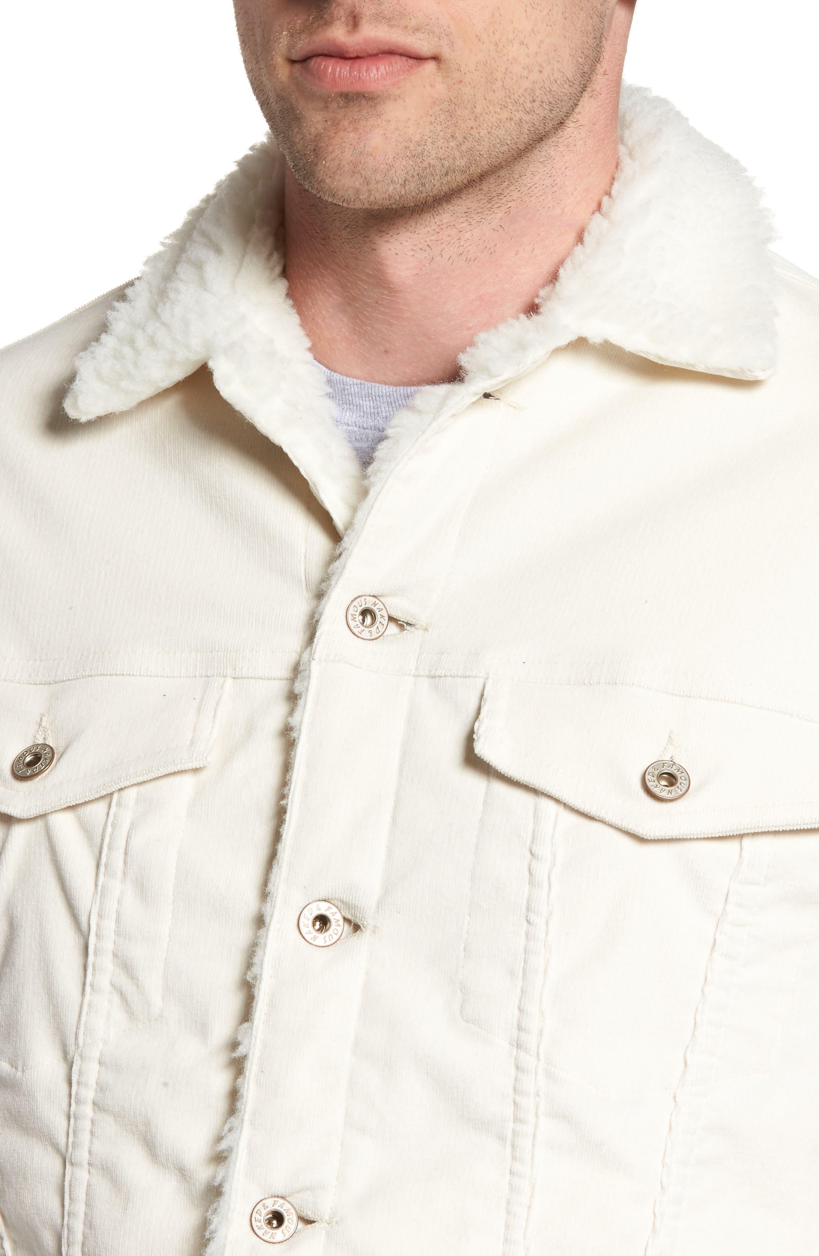 Faux Shearling Lined Denim Jacket,                             Alternate thumbnail 4, color,                             100