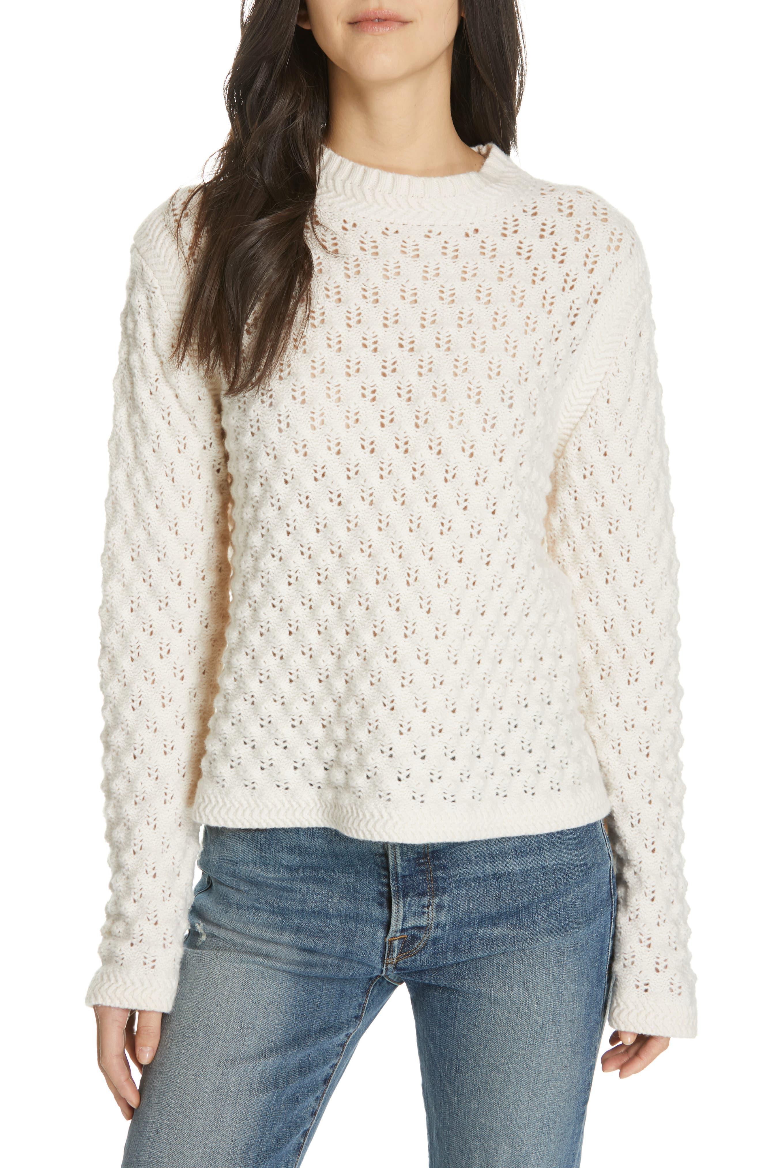 LA VIE REBECCA TAYLOR Pointelle Sweater in Ecru