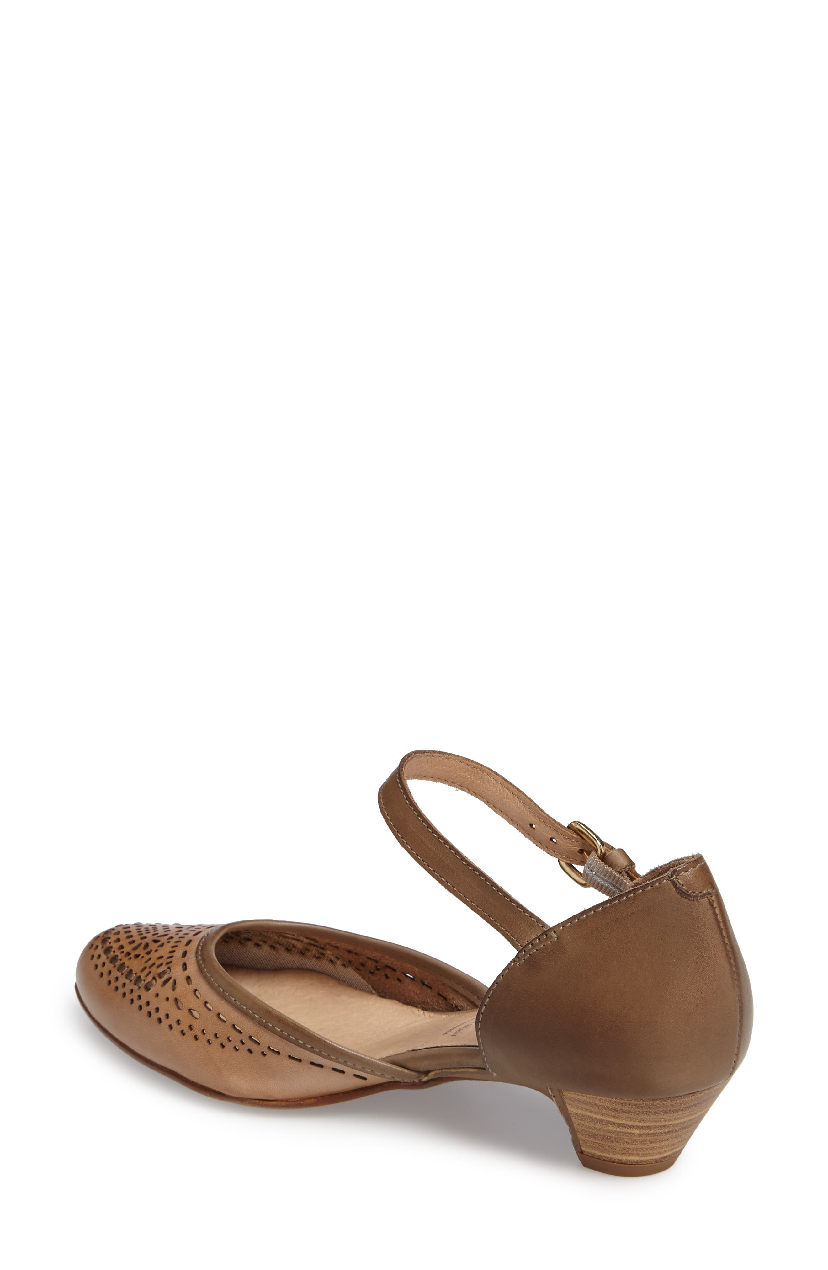 'Elba' Perforated Leather Ankle Strap Sandal,                             Alternate thumbnail 6, color,