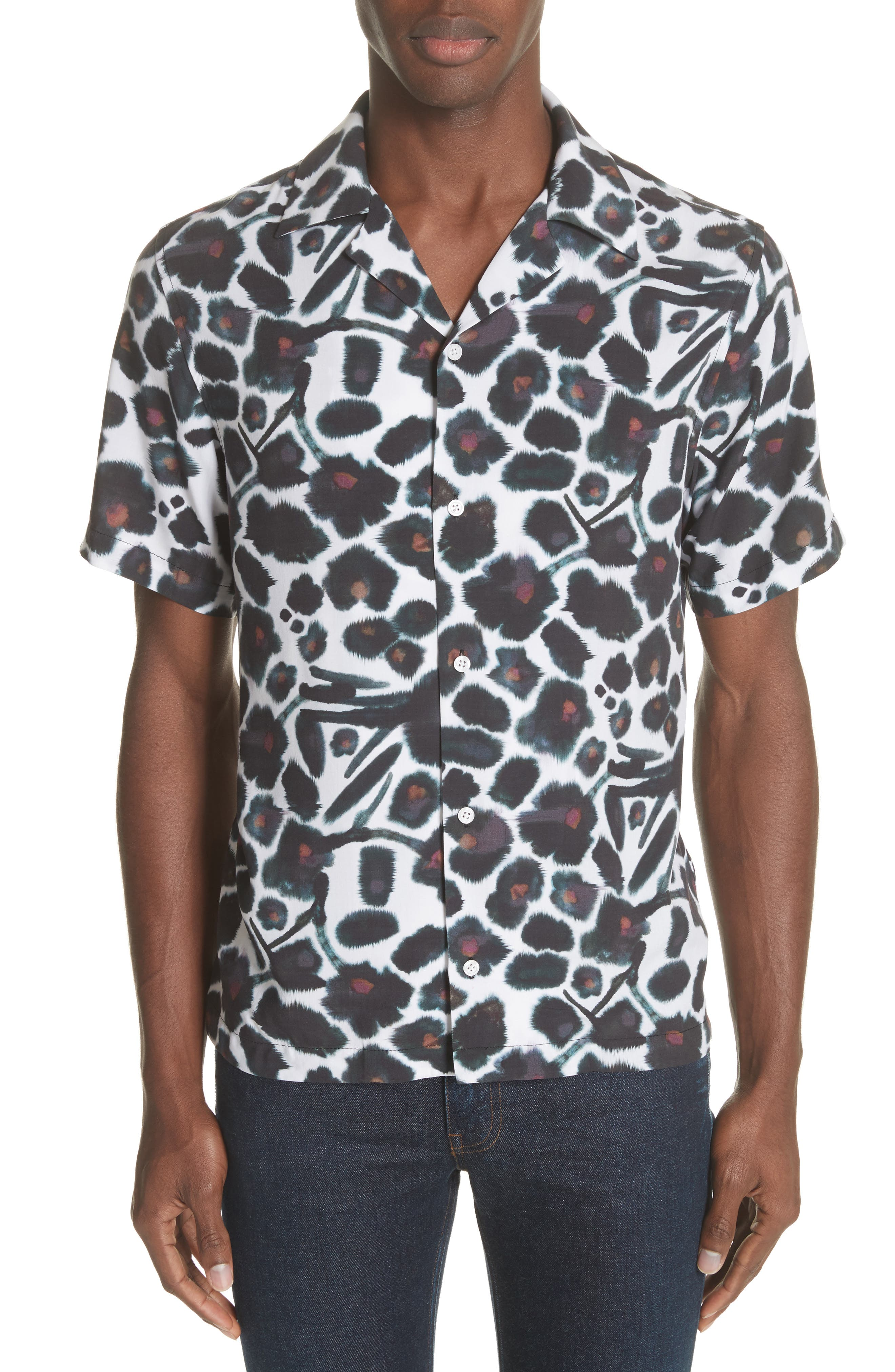 Canty Watercolor Floral Print Camp Shirt,                         Main,                         color, 599