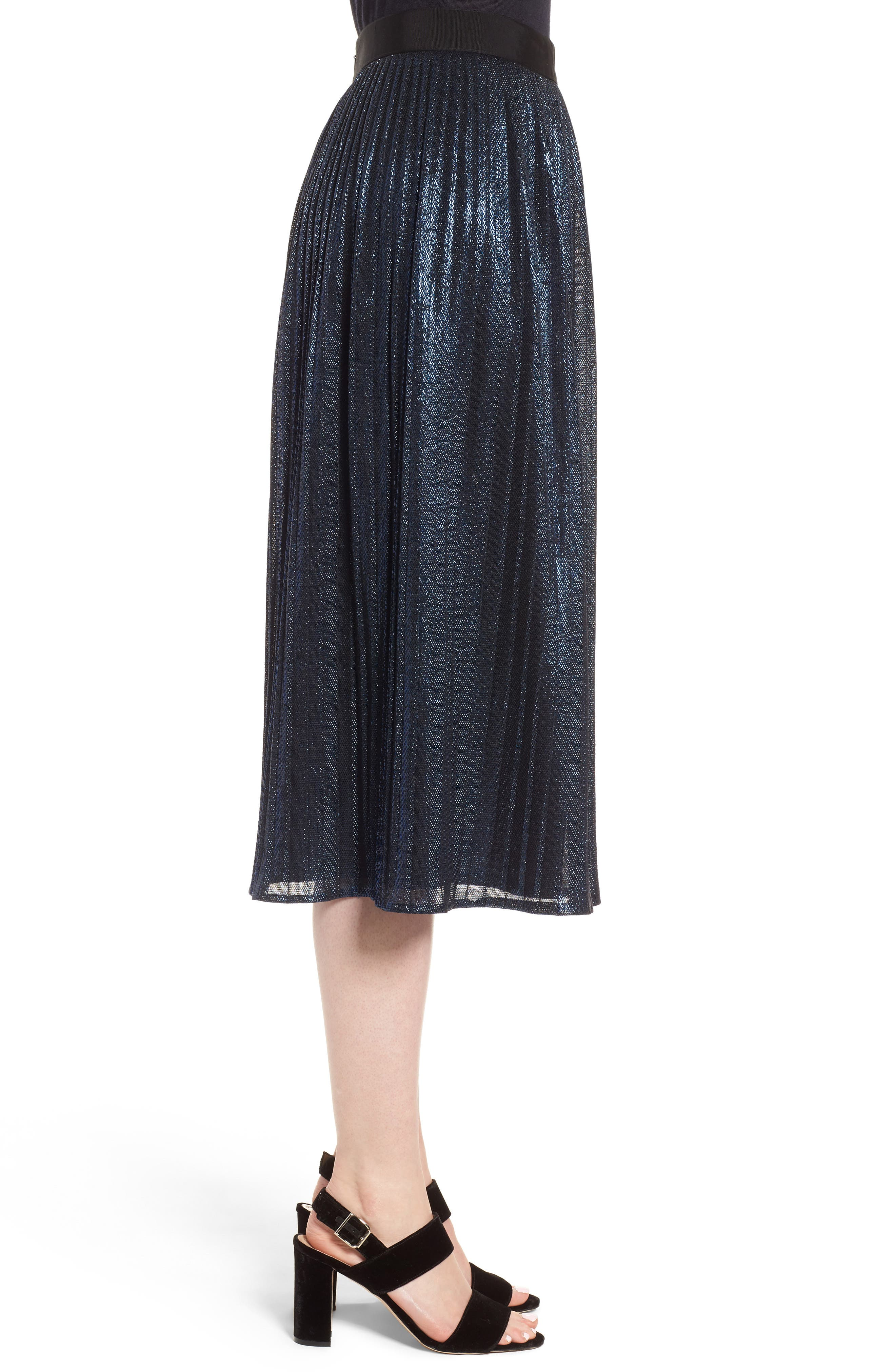 Miplisa Metallic Pleated Midi Skirt,                             Alternate thumbnail 3, color,                             480