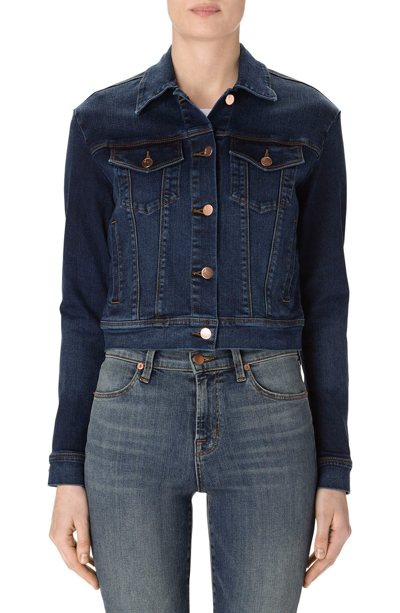 Harlow Shrunken Denim Jacket,                         Main,                         color,
