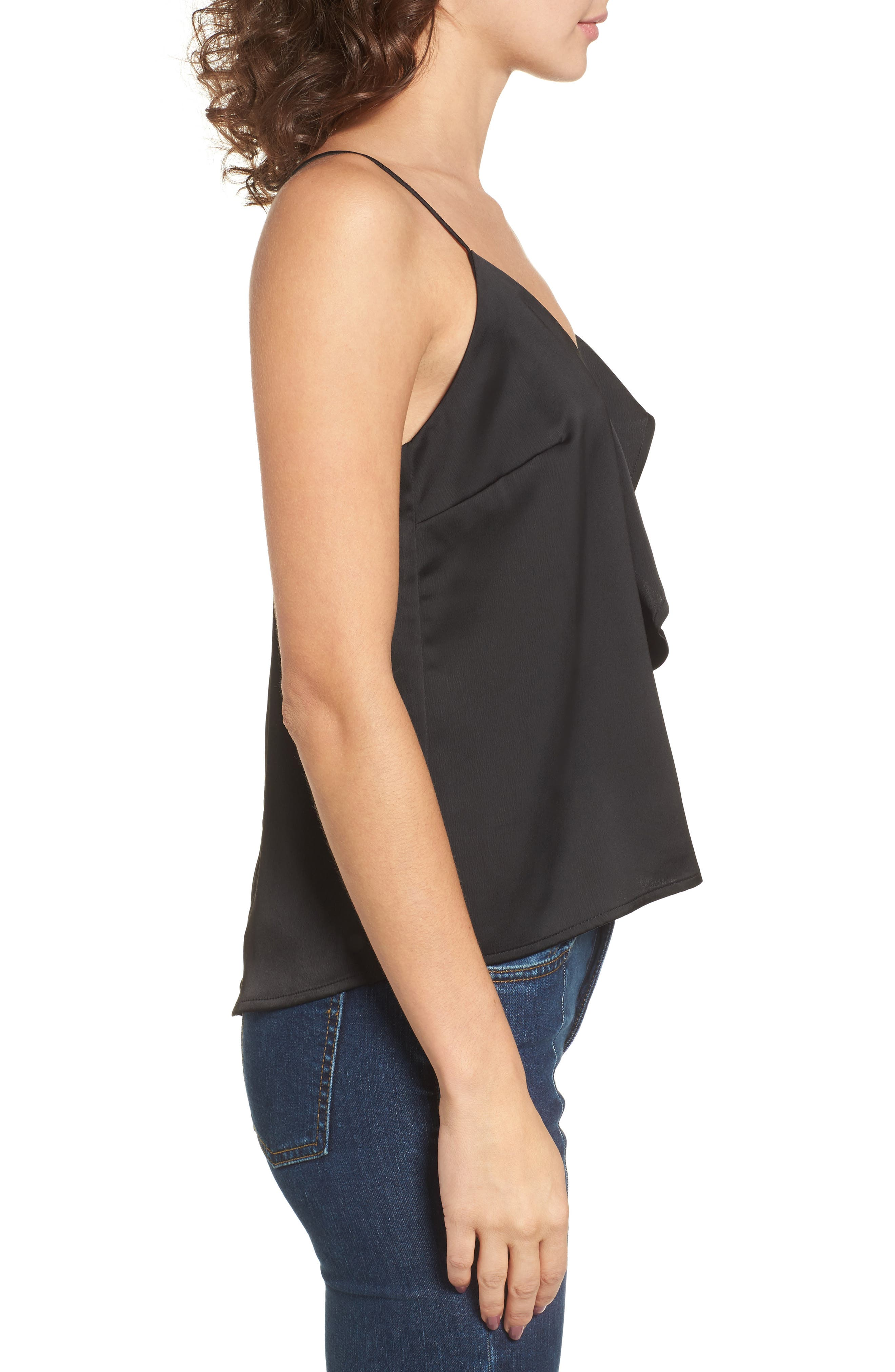 Ruffle Front Camisole Top,                             Alternate thumbnail 3, color,                             001