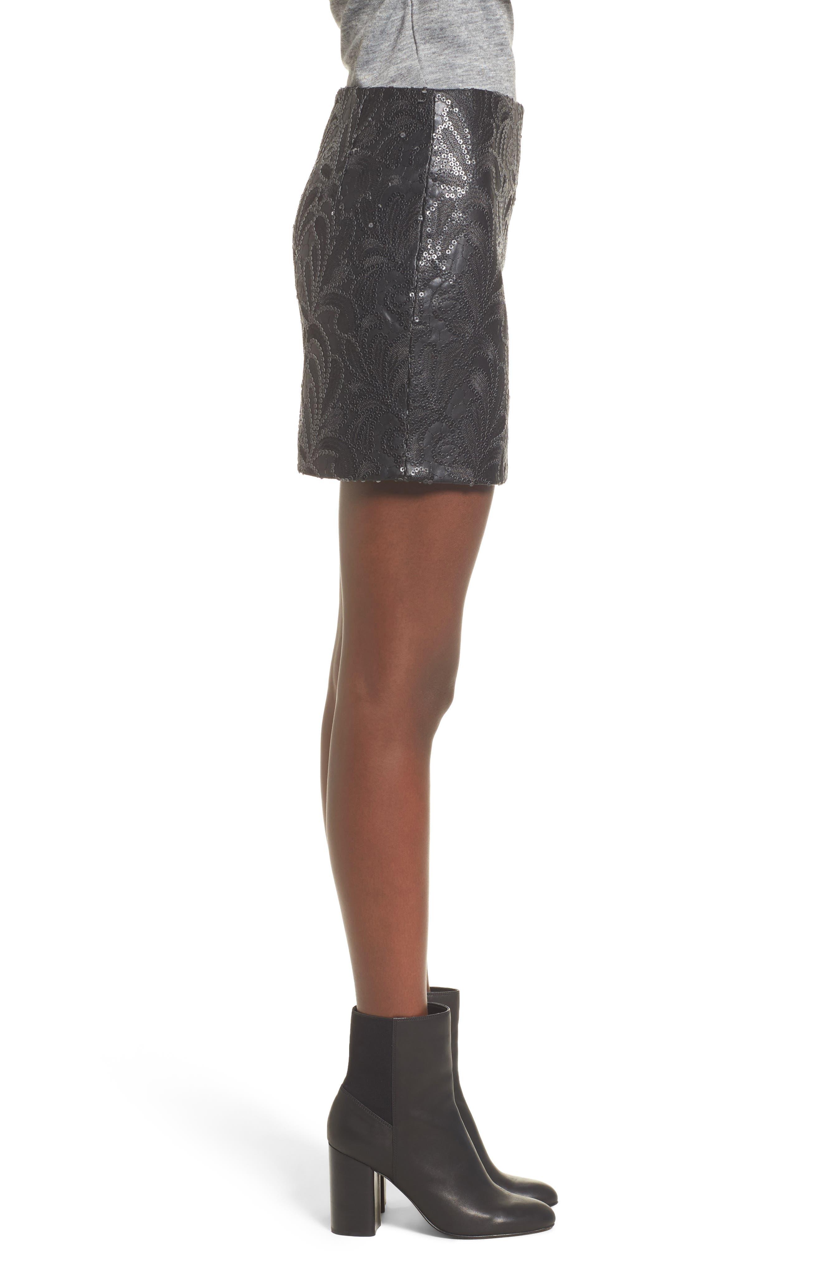 Sequin Faux Leather Miniskirt,                             Alternate thumbnail 3, color,                             003