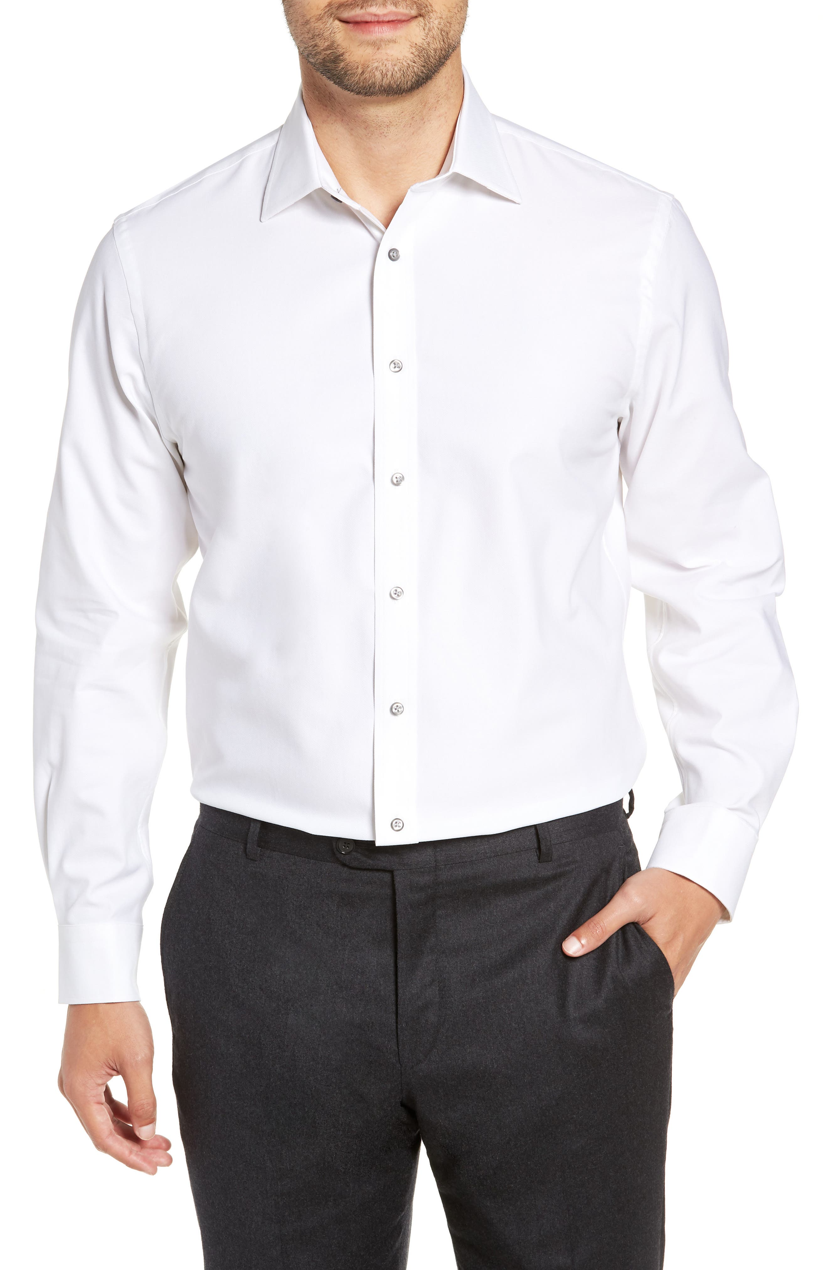 Tech-Smart Traditional Fit Stretch Solid Dress Shirt,                             Main thumbnail 1, color,                             WHITE