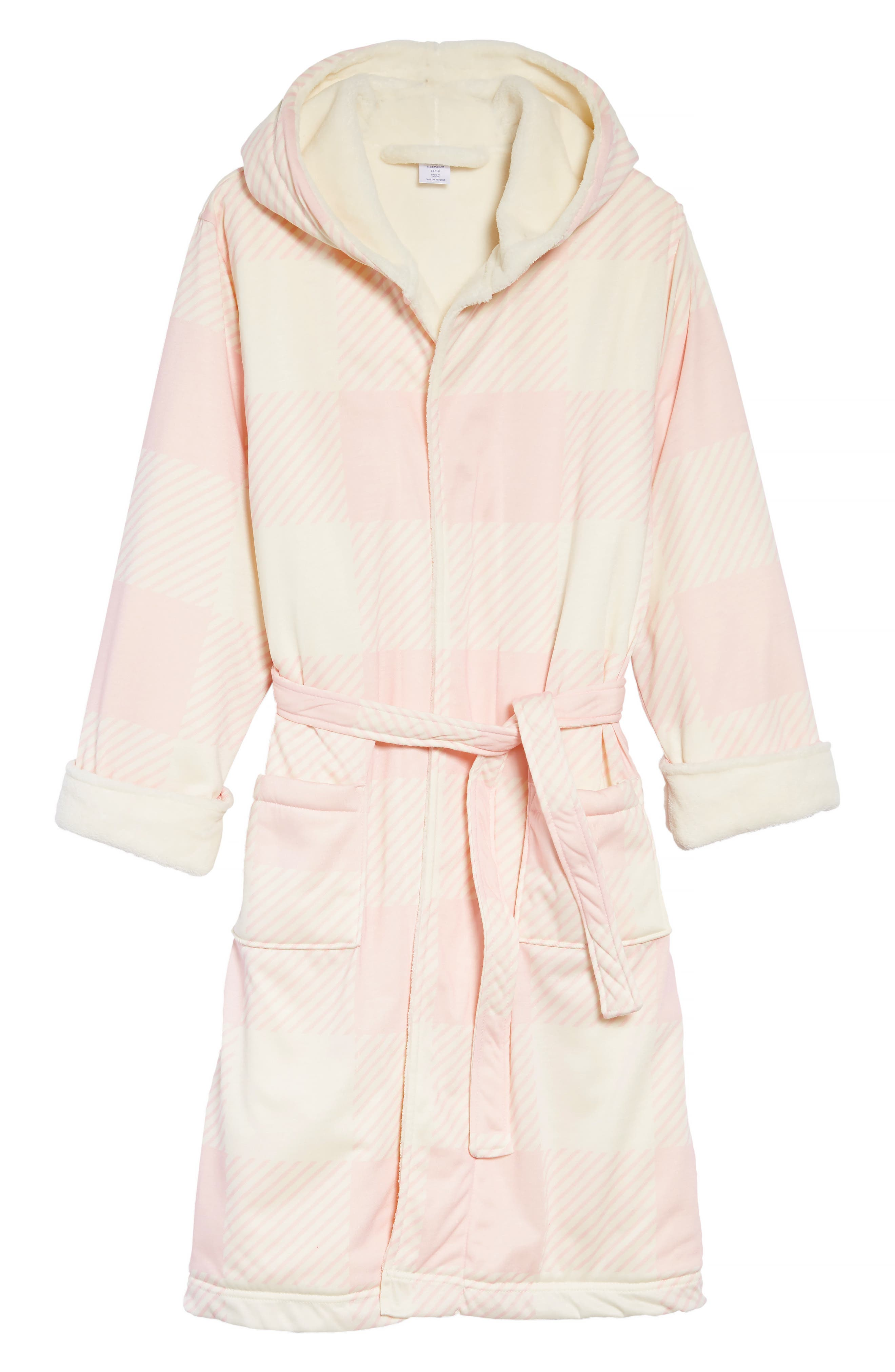 Plush Lined Robe,                         Main,                         color, PINK BABY CHECK