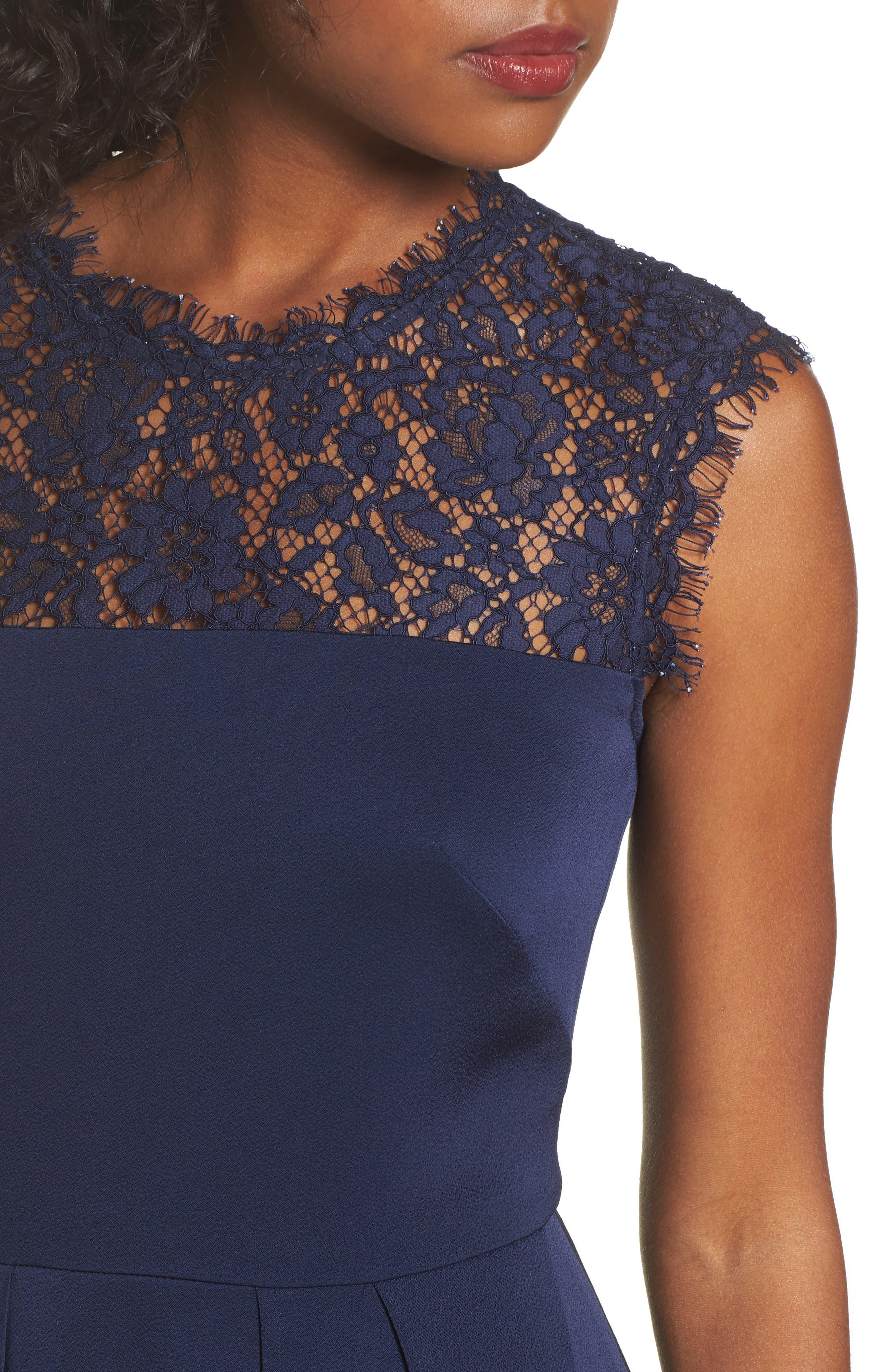 Allachie Lace & Crepe High/Low Midi Dress,                             Alternate thumbnail 4, color,                             414