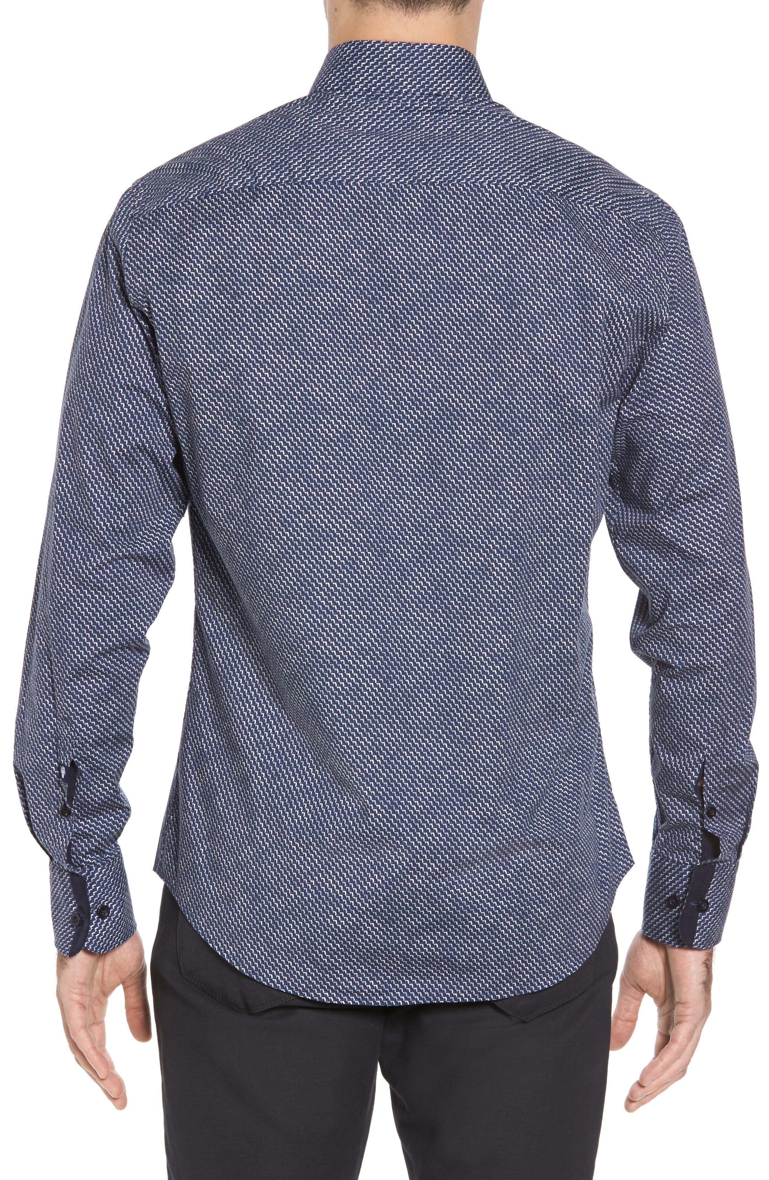 Slim Fit Wolf Texture FX Sport Shirt,                             Alternate thumbnail 2, color,
