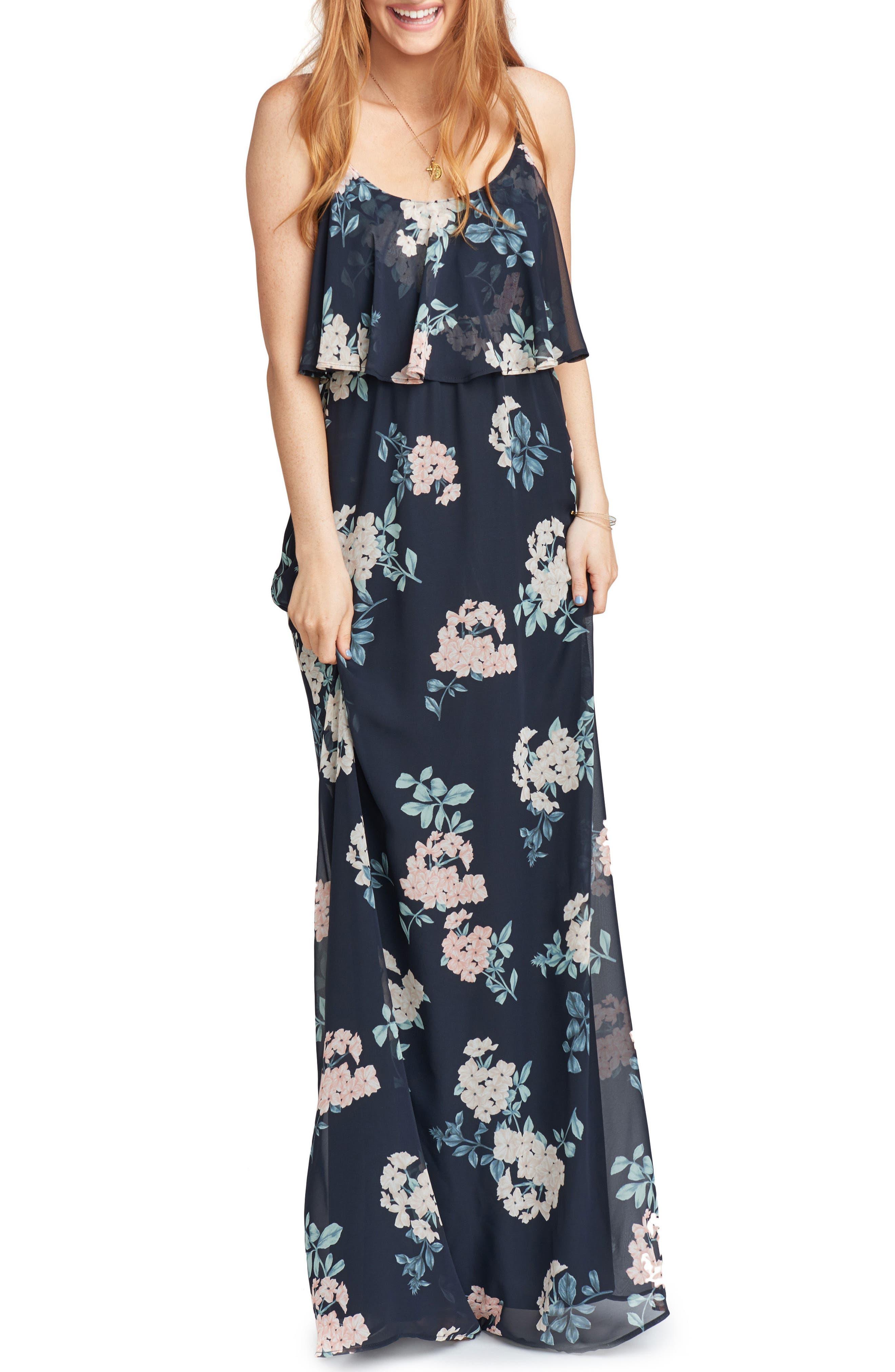 Caitlin Cold Shoulder Chiffon Gown,                         Main,                         color,