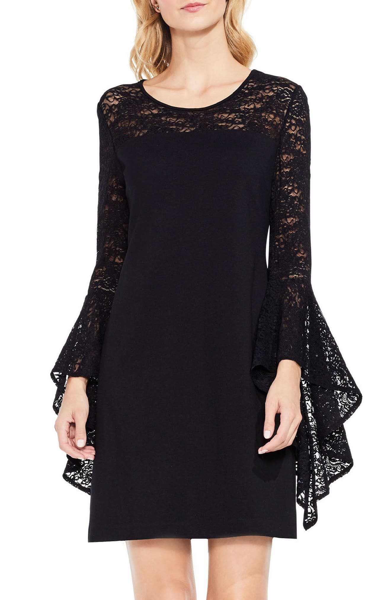 Handkerchief Lace Ponte Dress,                             Alternate thumbnail 4, color,                             006