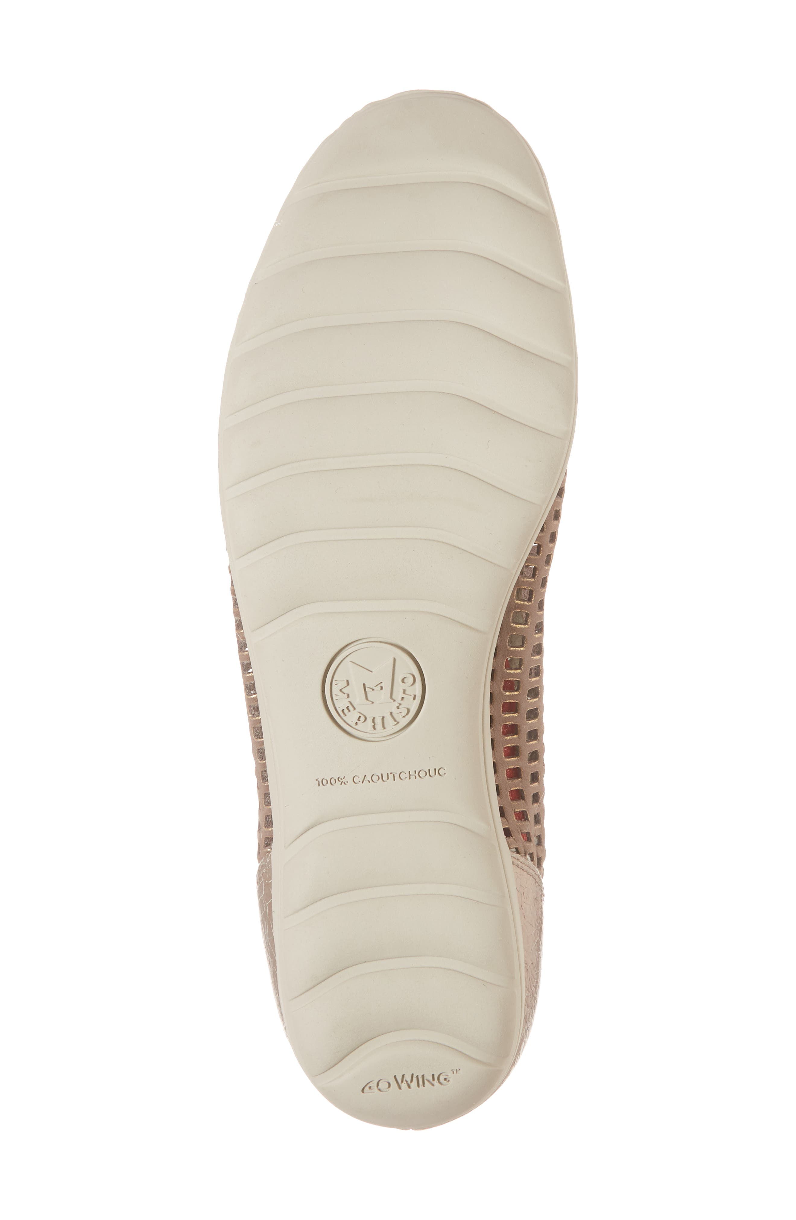 Evelyne Perforated Flat,                             Alternate thumbnail 6, color,                             TAUPE LEATHER