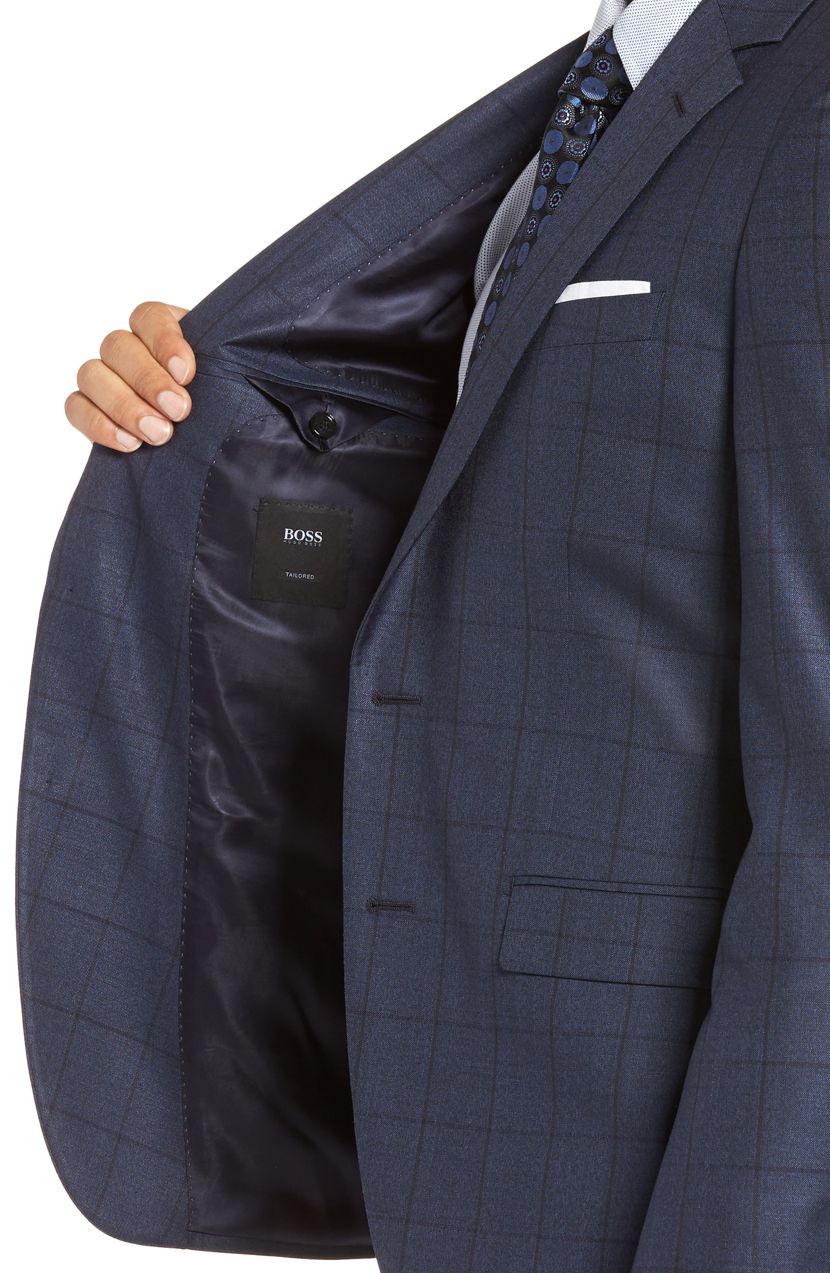 Harvers/Glover Trim Fit Windowpane Wool & Silk Suit,                             Alternate thumbnail 4, color,                             OPEN BLUE