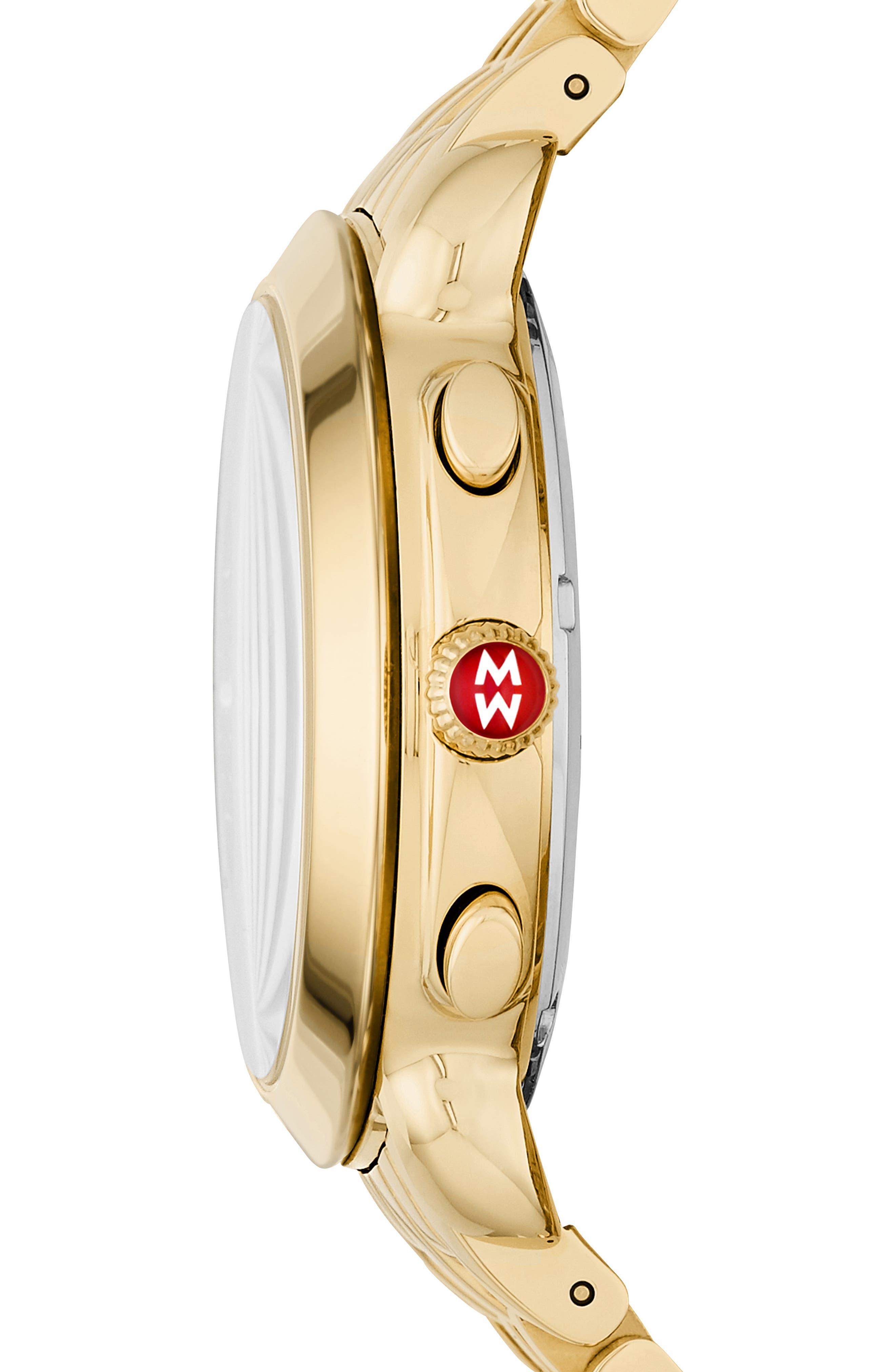 Sidney Chronograph Diamond Watch Head, 38mm,                             Alternate thumbnail 3, color,                             GOLD/ GREY MOP