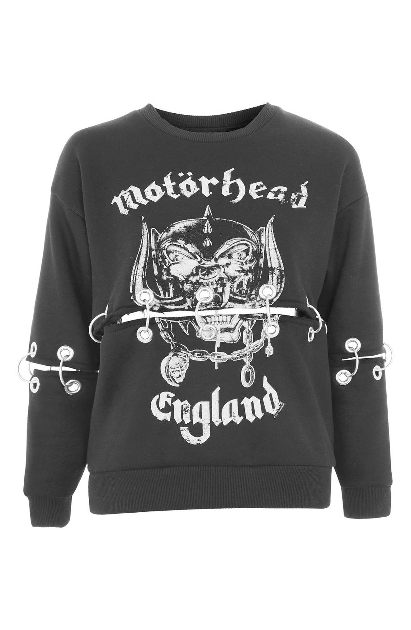 by And Finally Motörhead Ring Detail Sweatshirt,                             Alternate thumbnail 3, color,                             002
