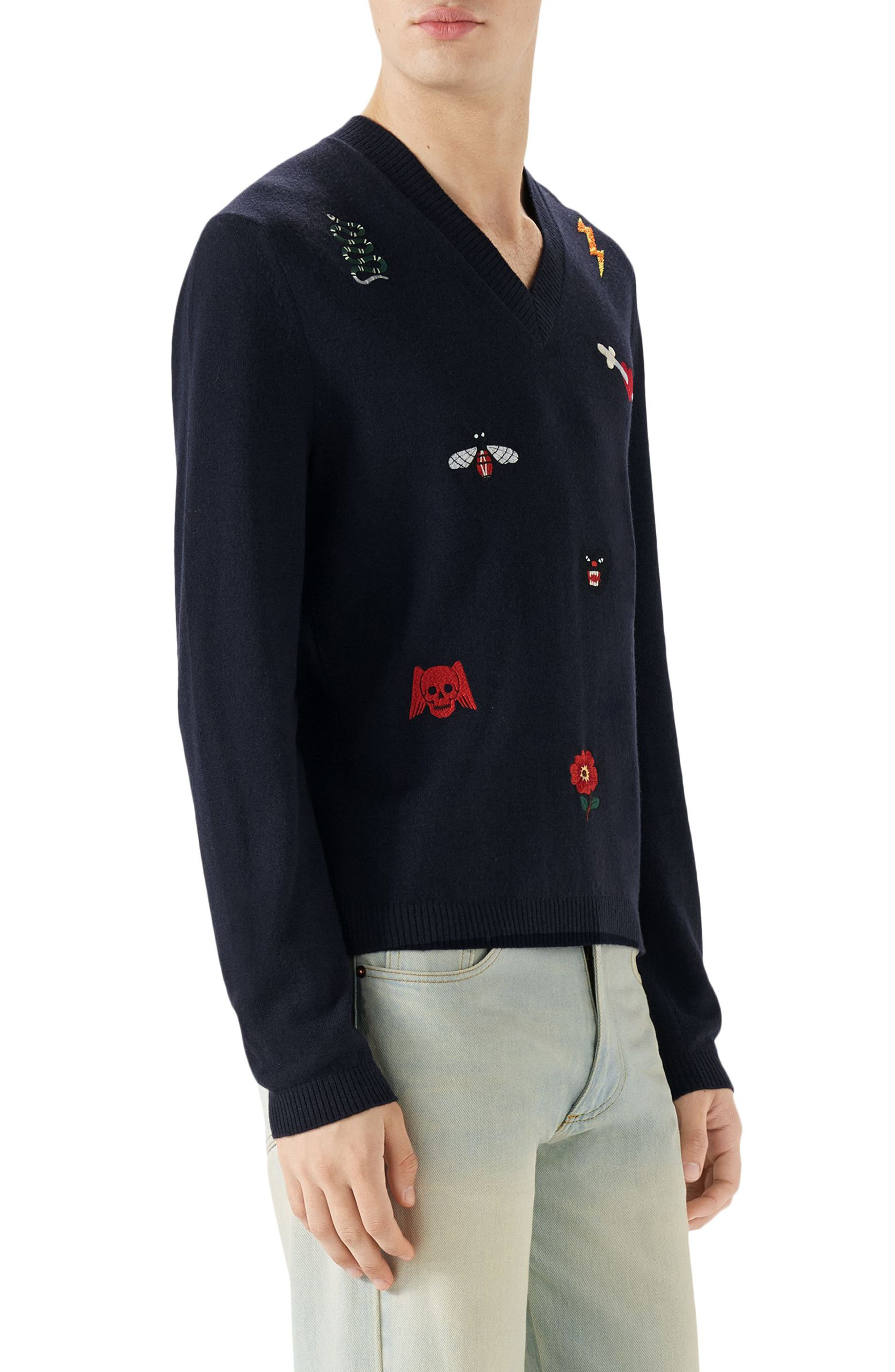V-Neck Embroidered Wool Sweater,                             Alternate thumbnail 3, color,                             INK BLUE