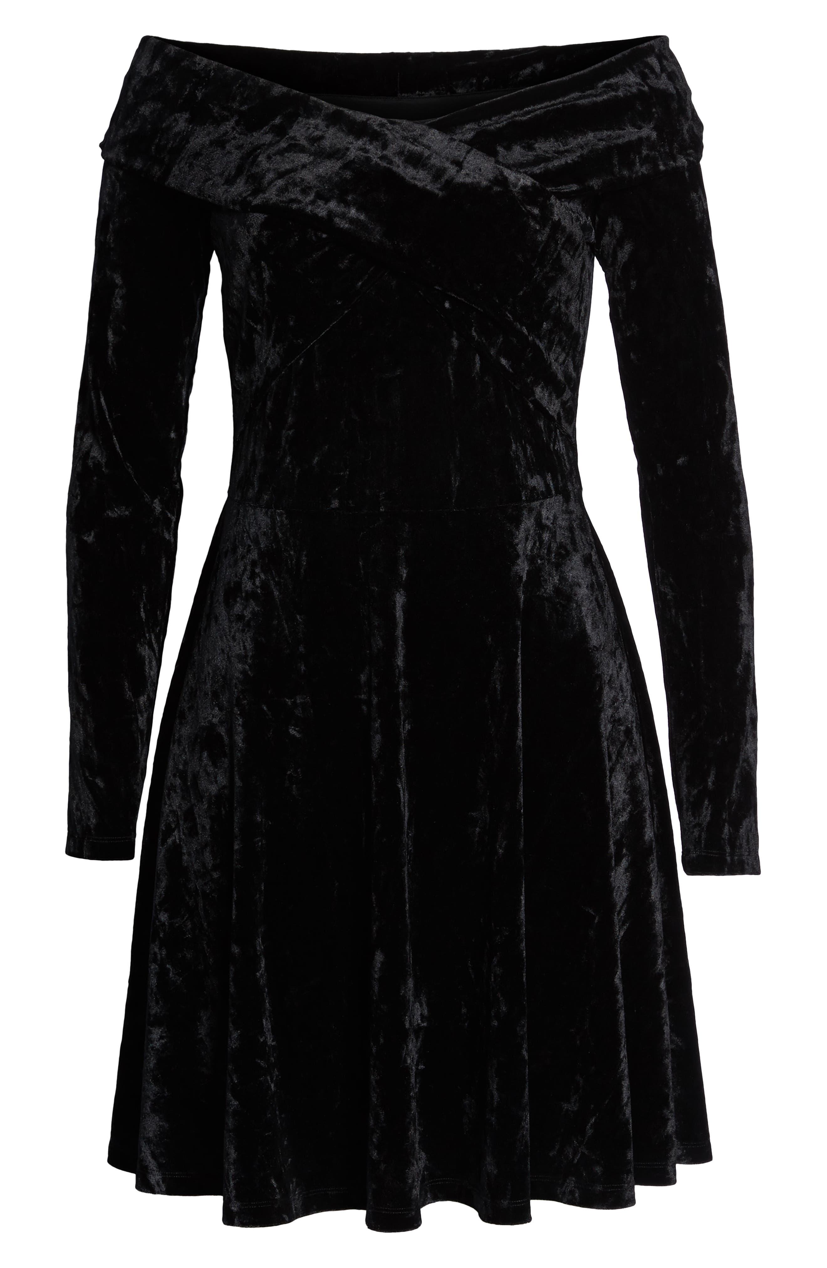 Off the Shoulder Velvet A-Line Dress,                             Alternate thumbnail 7, color,                             BLACK