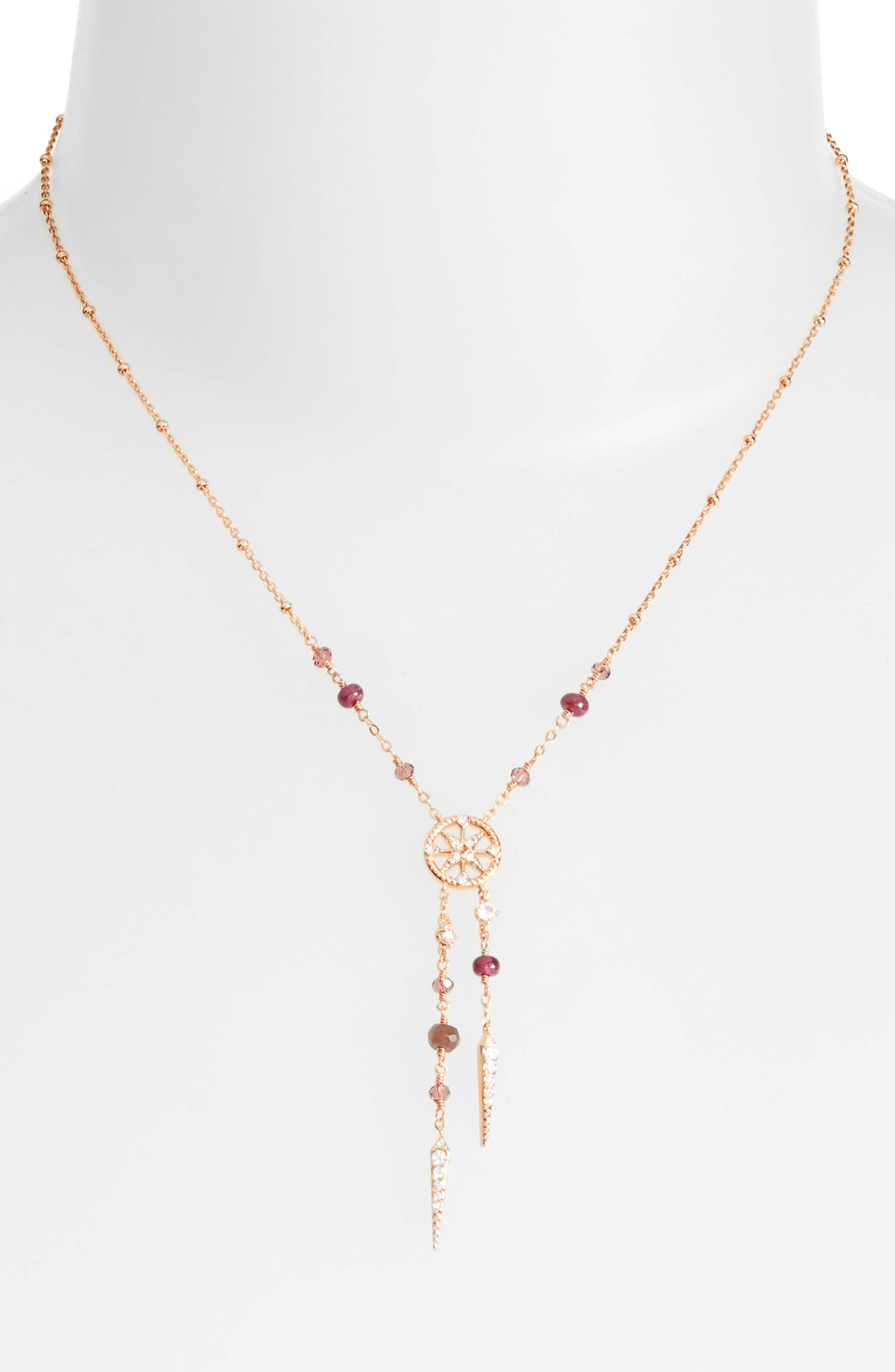 Crystal & Semiprecious Stone Y-Necklace,                             Alternate thumbnail 2, color,                             600