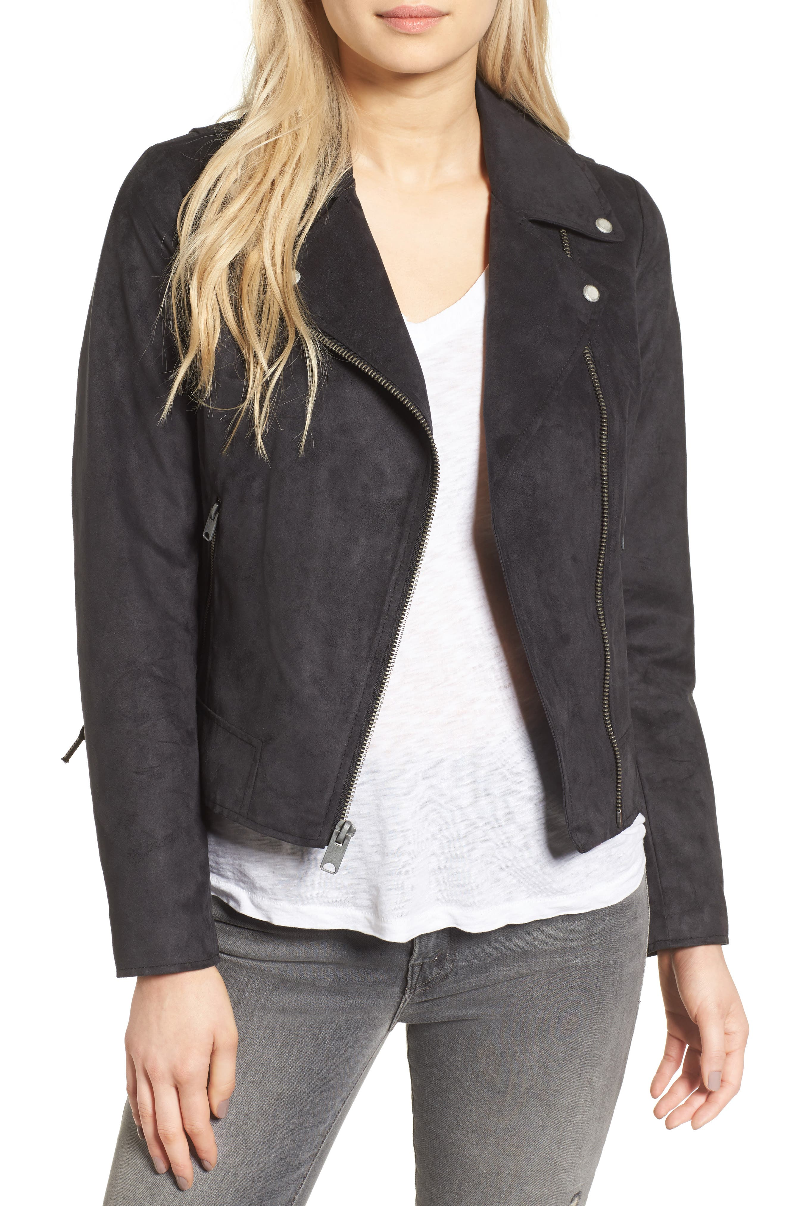 ANDREW MARC Farryn Side Lace Faux Suede Jacket, Main, color, 001