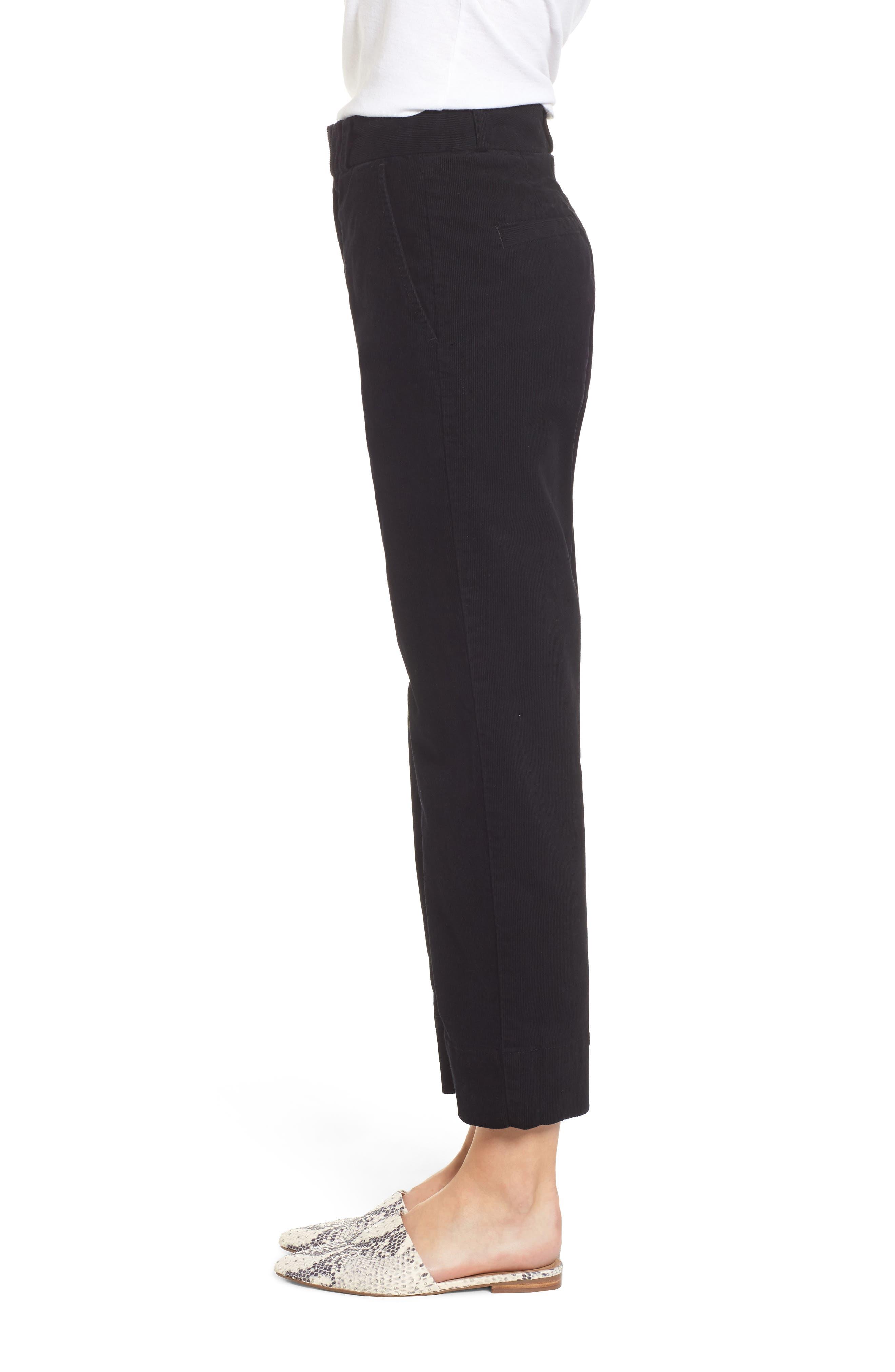 AG,                             Elvie High Waist Crop Corduroy Trousers,                             Alternate thumbnail 3, color,                             010