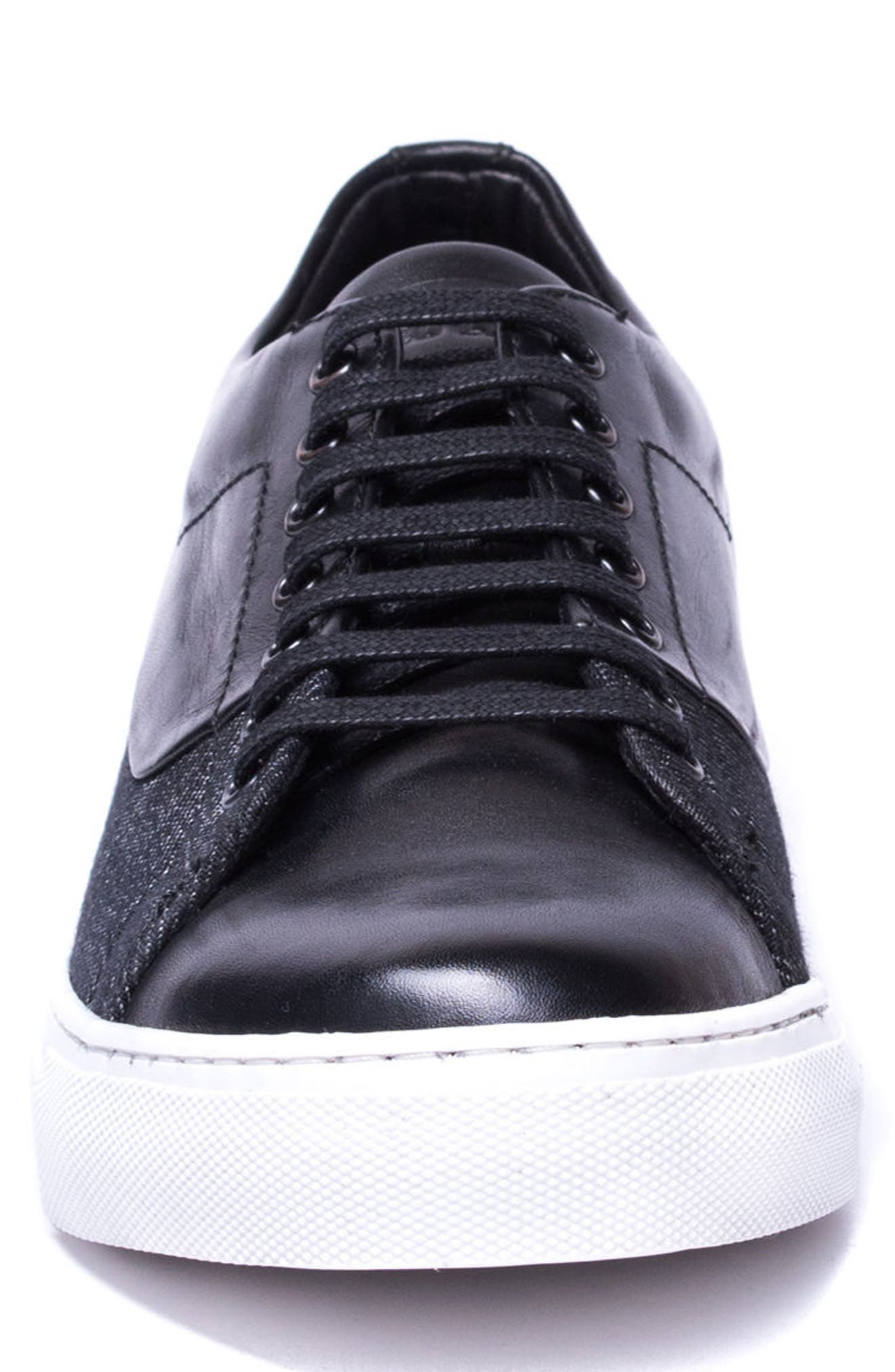 Luke Low Top Sneaker,                             Alternate thumbnail 4, color,                             BLACK LEATHER