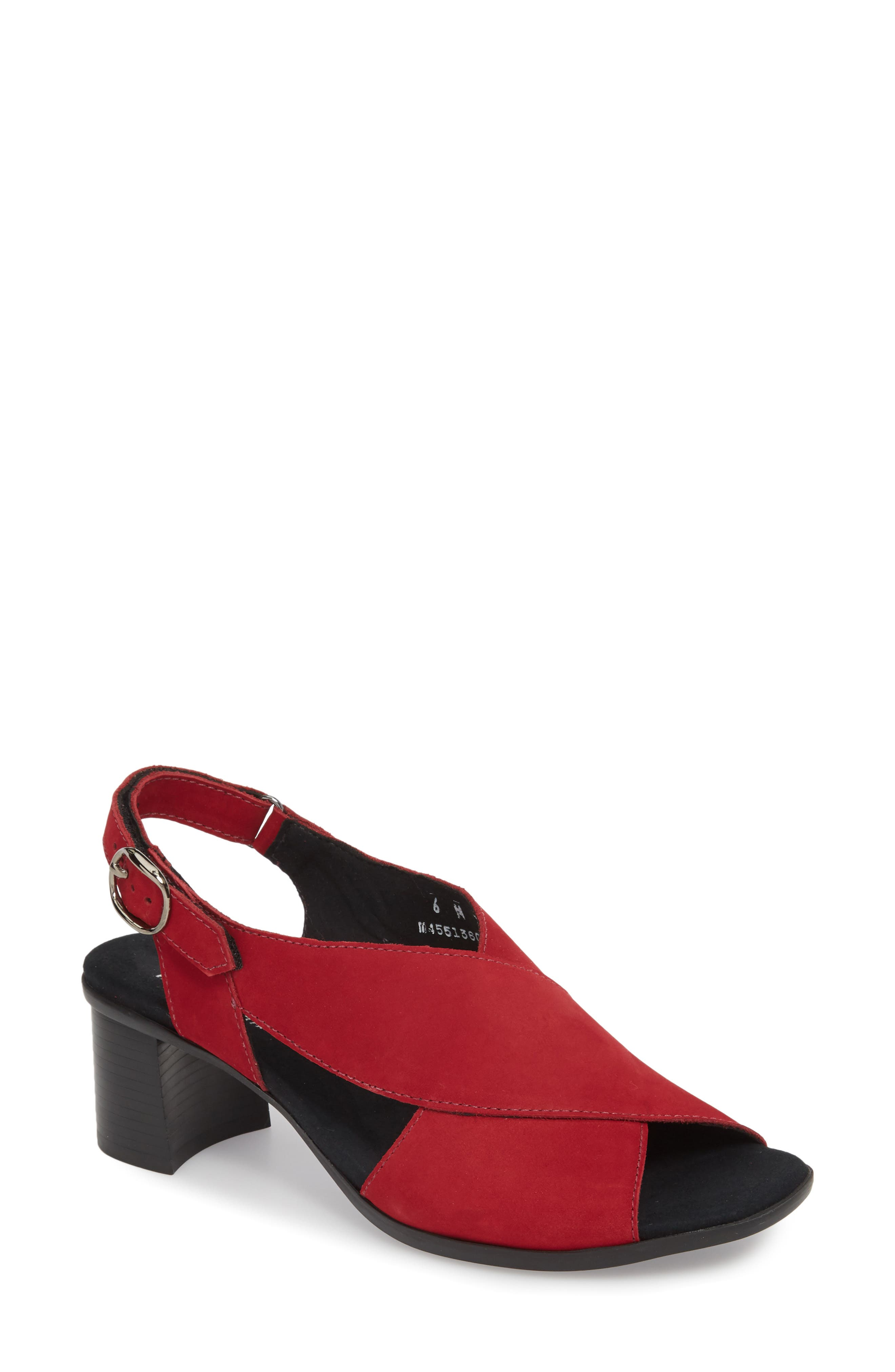 Laine Block Heel Sandal,                             Main thumbnail 1, color,                             RED NUBUCK LEATHER