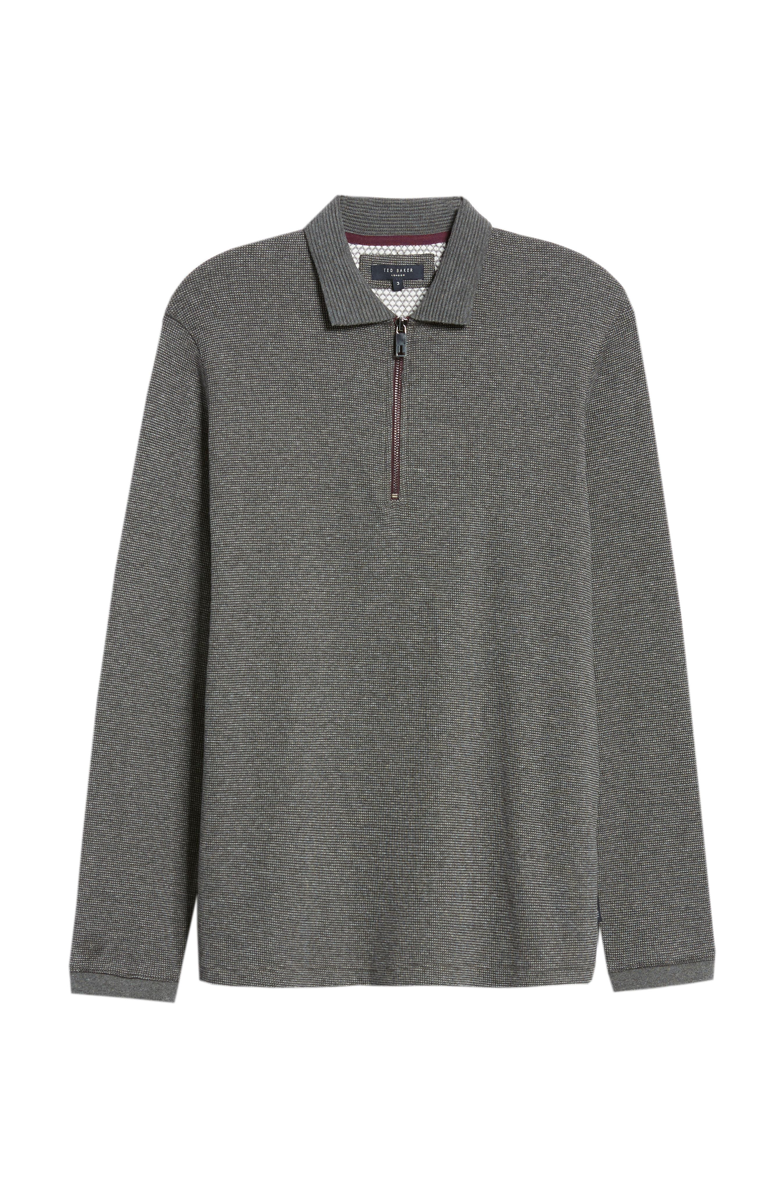 Slim Fit Quarter Zip Polo,                             Alternate thumbnail 6, color,                             CHARCOAL