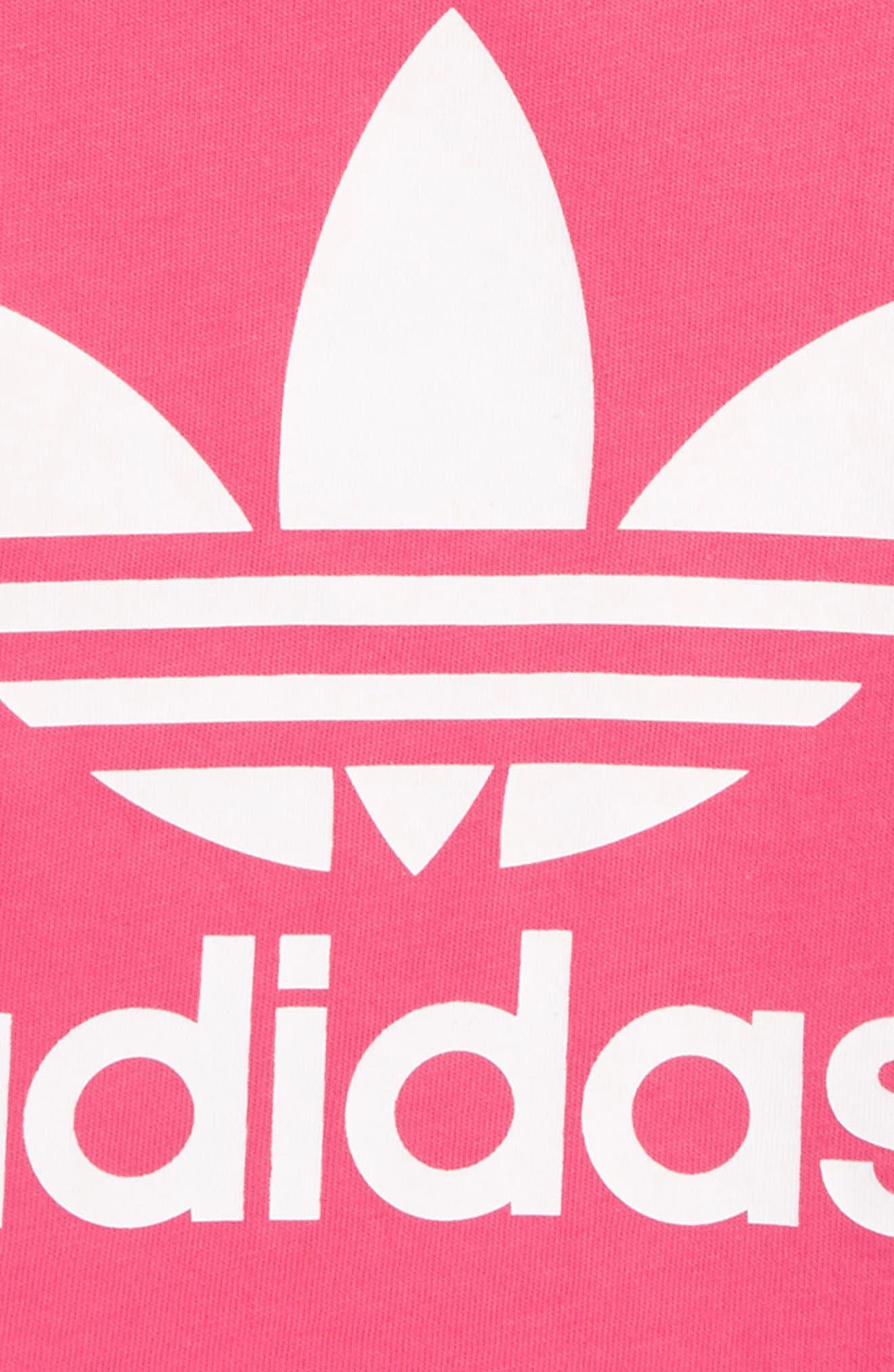 Originals Trefoil Logo Tee,                             Alternate thumbnail 2, color,                             REAL PINK / WHITE
