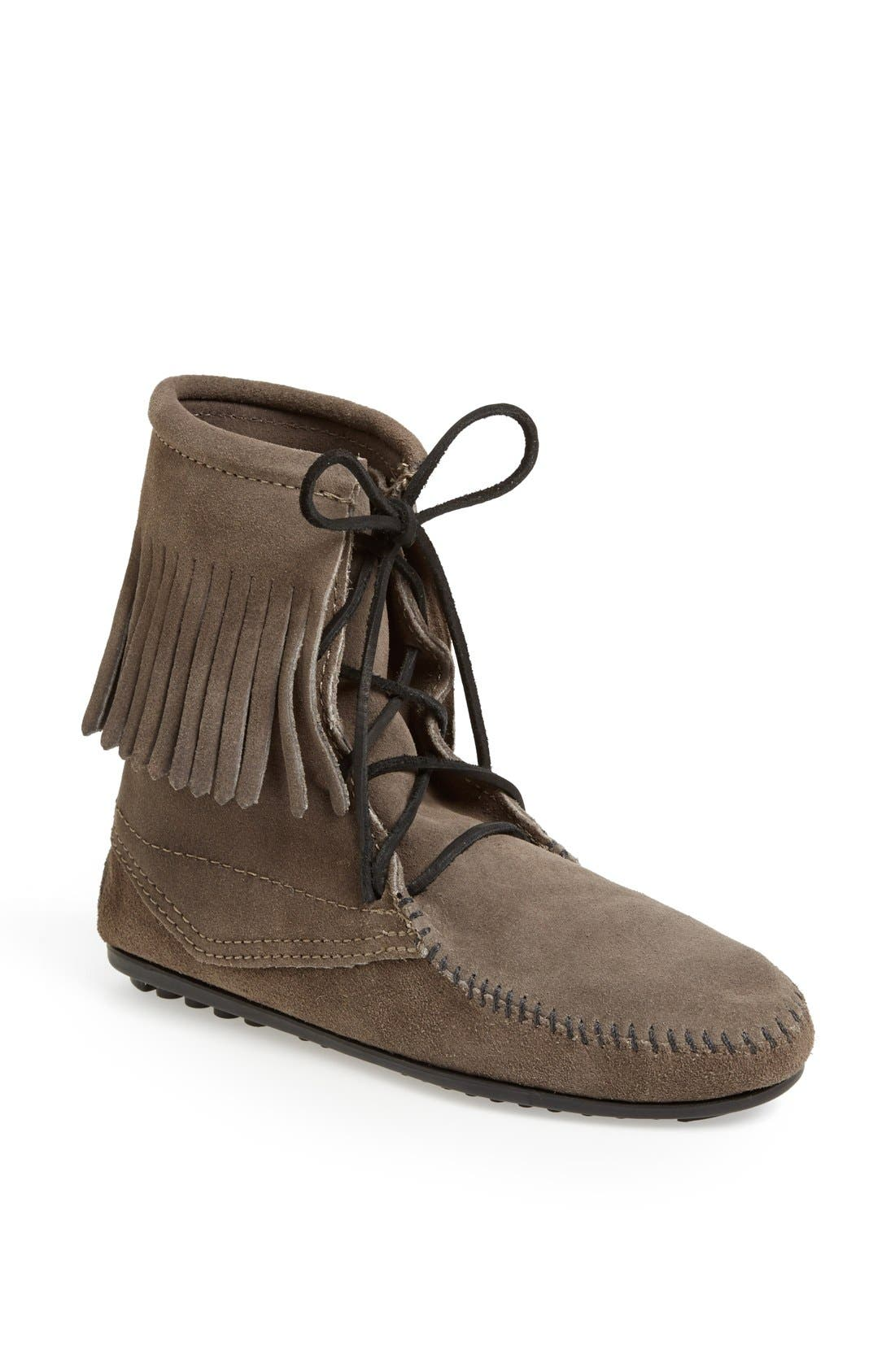'Tramper' Fringed Suede Ankle Bootie,                             Main thumbnail 1, color,                             039