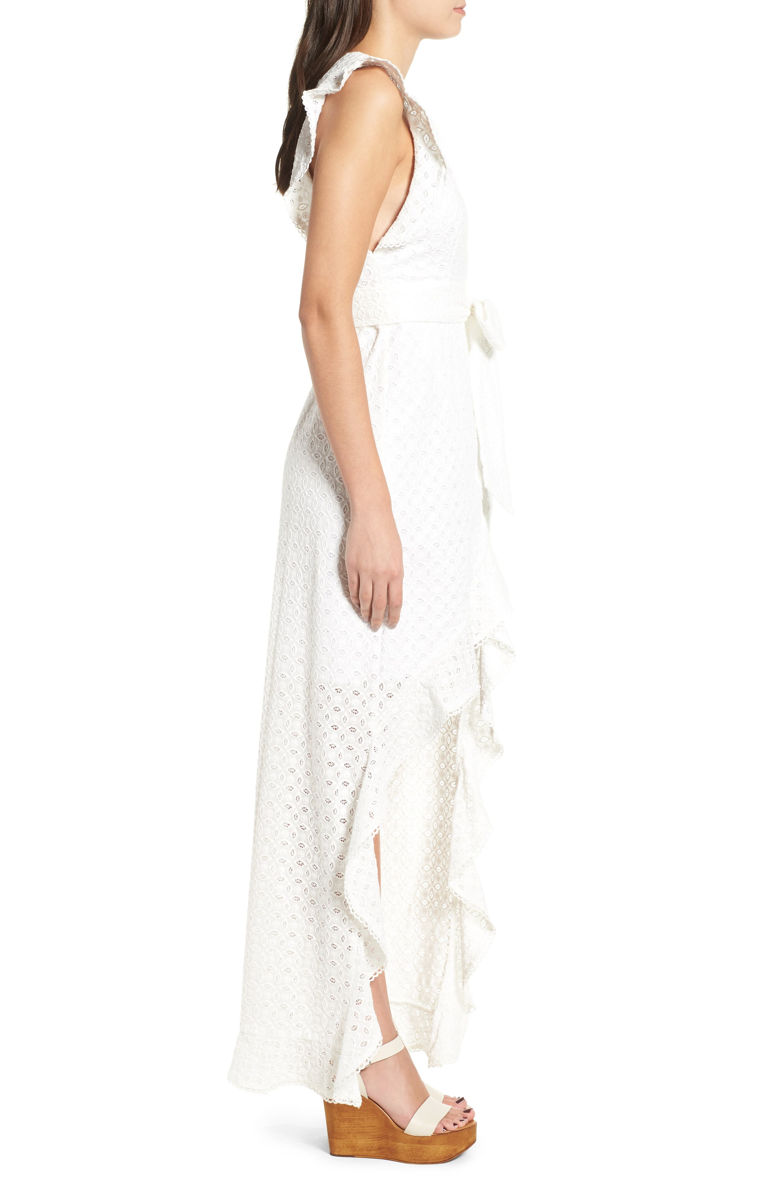 Andrea Ruffle Wrap Dress,                             Alternate thumbnail 3, color,                             101
