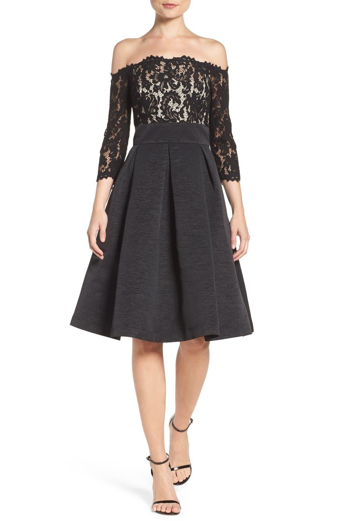 Petite Eliza J Off The Shoulder Fit & Flare Cocktail Dress, Black