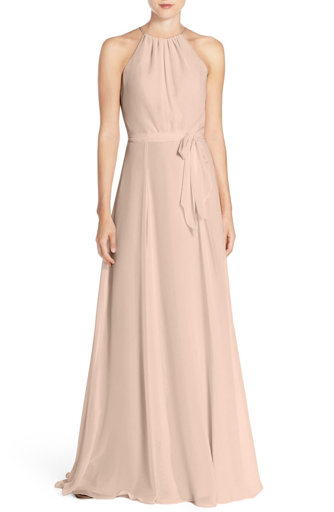'Delaney' Belted A-Line Chiffon Halter Dress,                         Main,                         color,