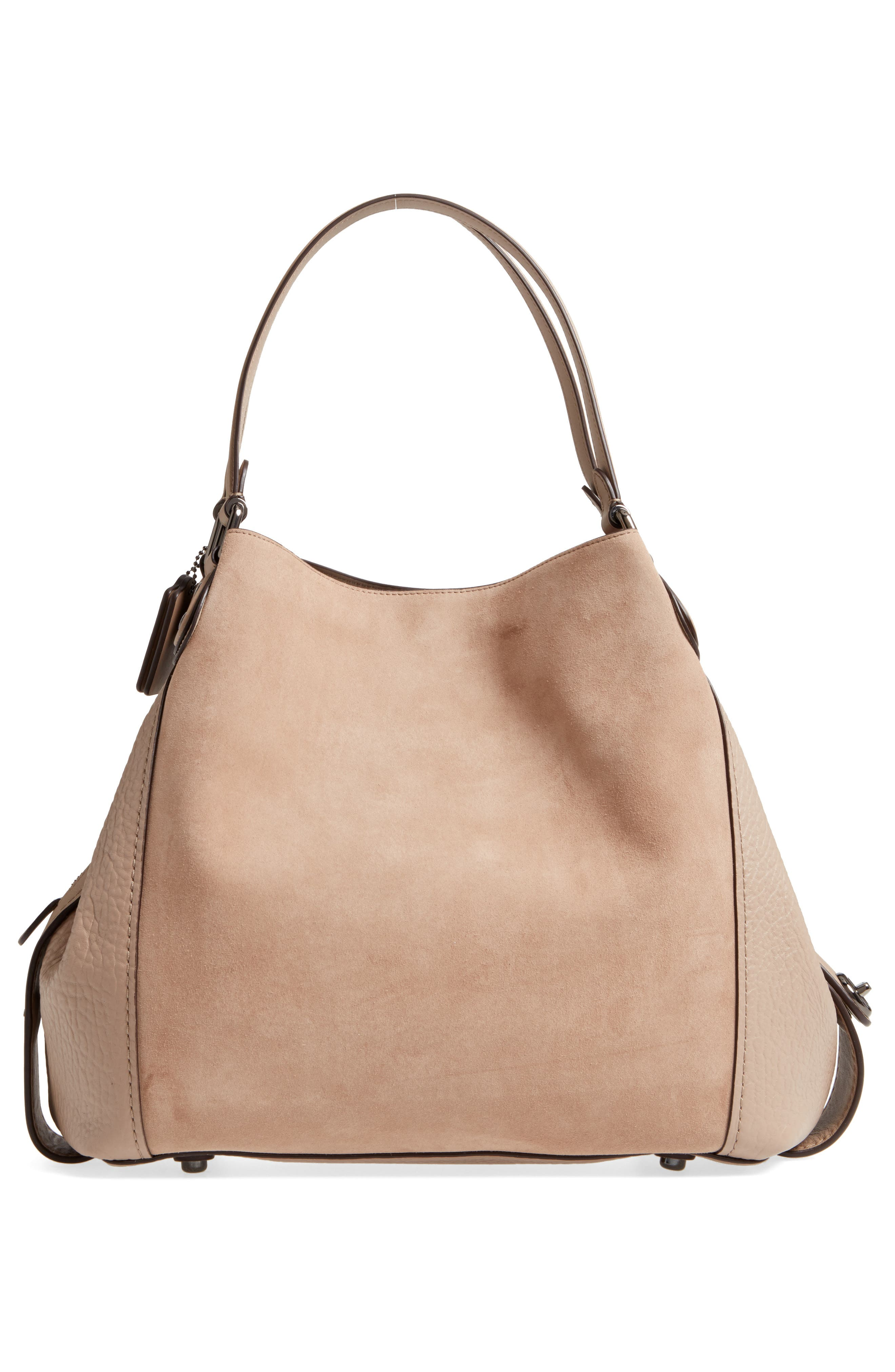 Edie Suede & Leather Shoulder Bag,                             Alternate thumbnail 3, color,                             253