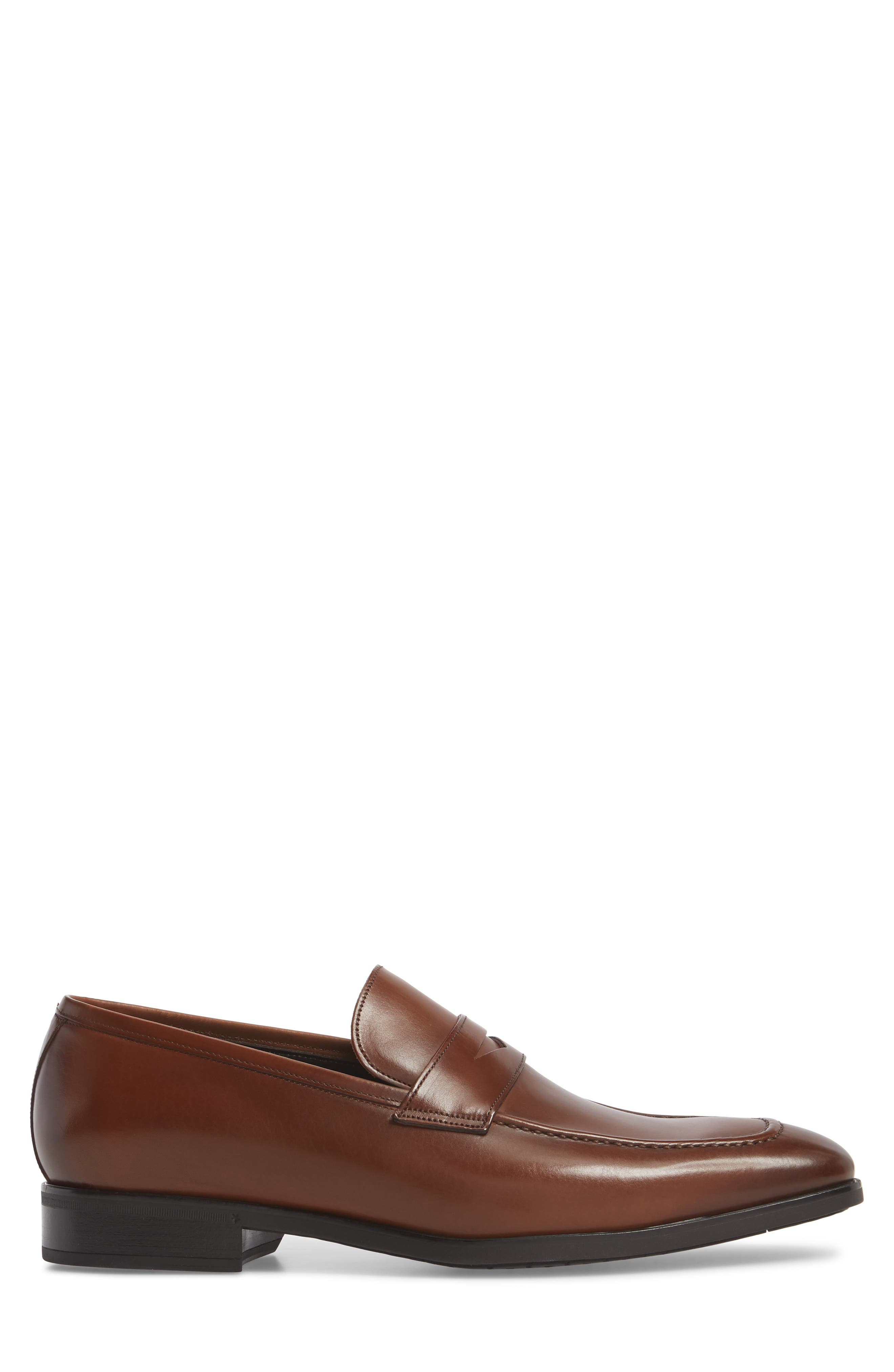 Raleigh Apron Toe Penny Loafer,                             Alternate thumbnail 3, color,                             BROWN LEATHER