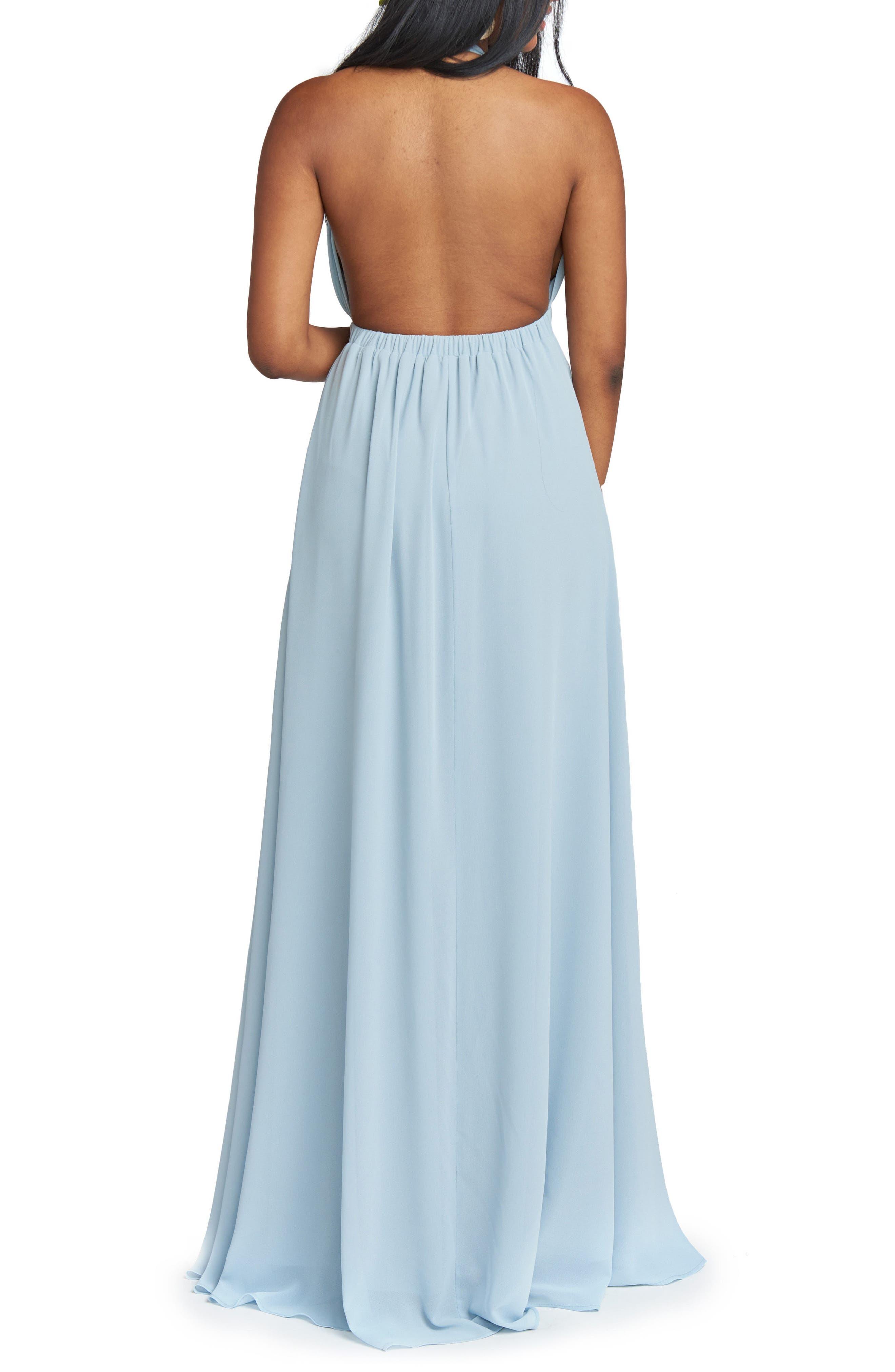Luna Halter Gown,                             Alternate thumbnail 2, color,                             STEEL BLUE