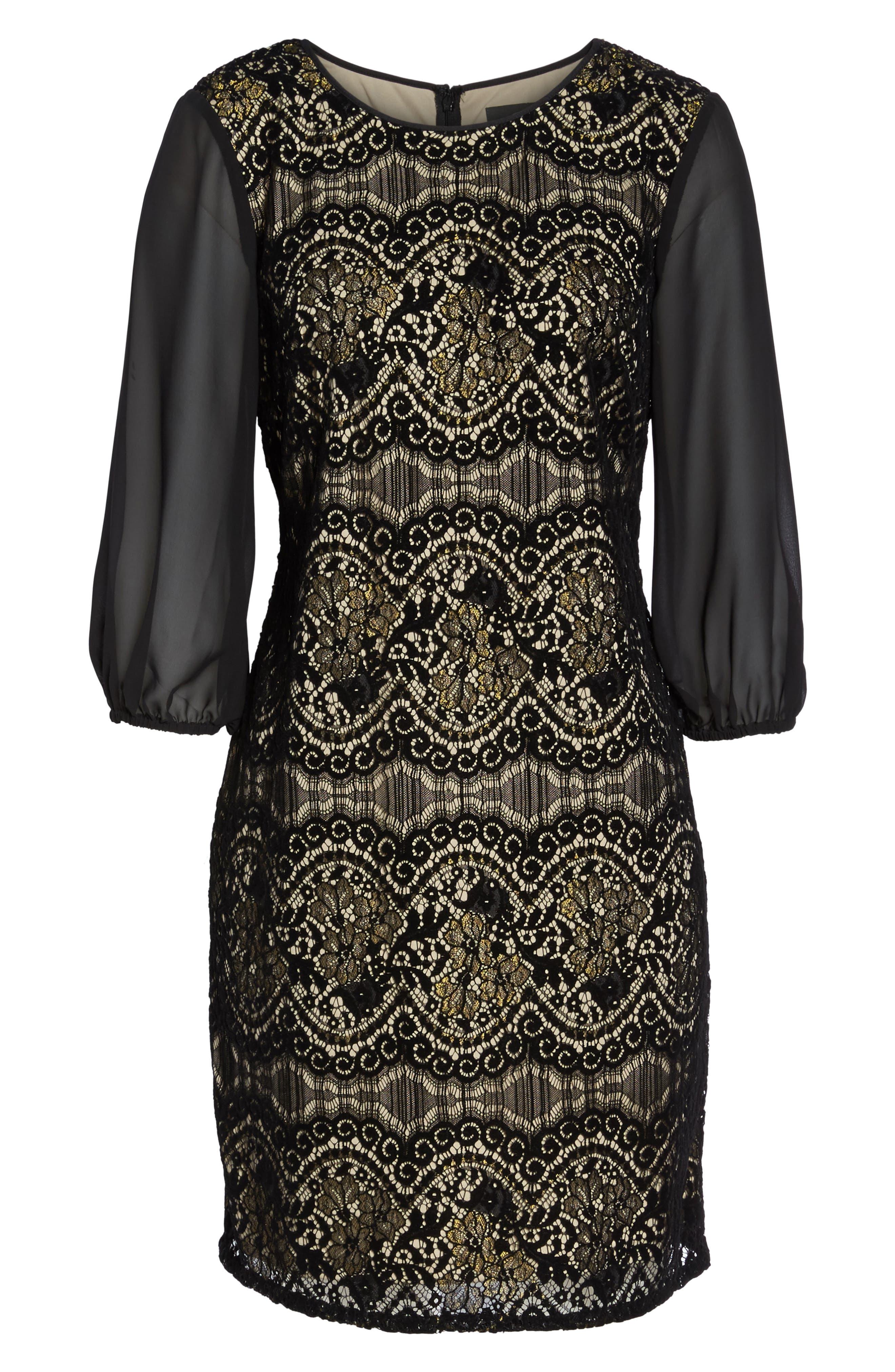 Flocked Lace Shift Dress,                             Alternate thumbnail 6, color,                             001
