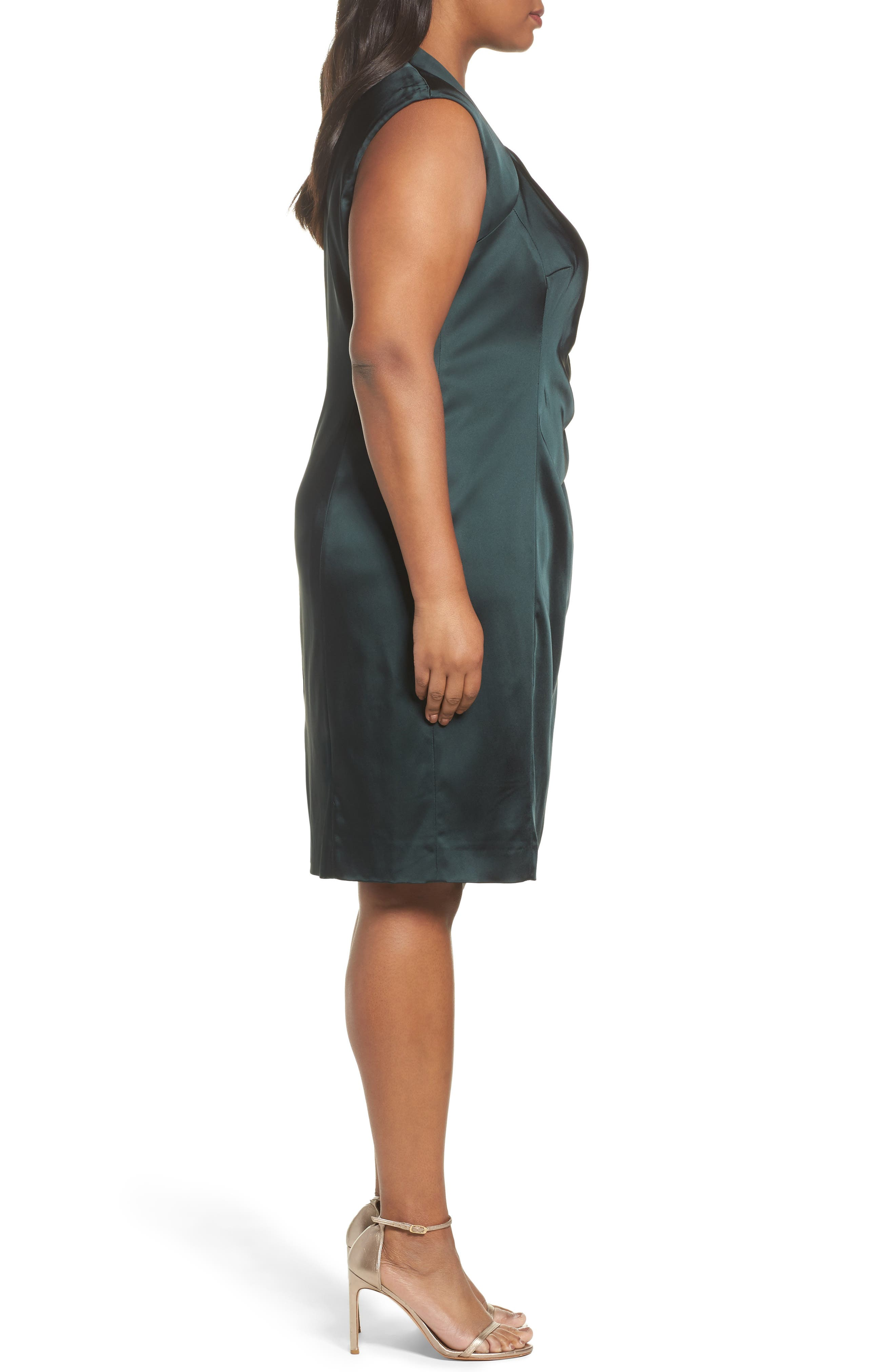 Side Pleat Satin Sheath Dress,                             Alternate thumbnail 3, color,                             384