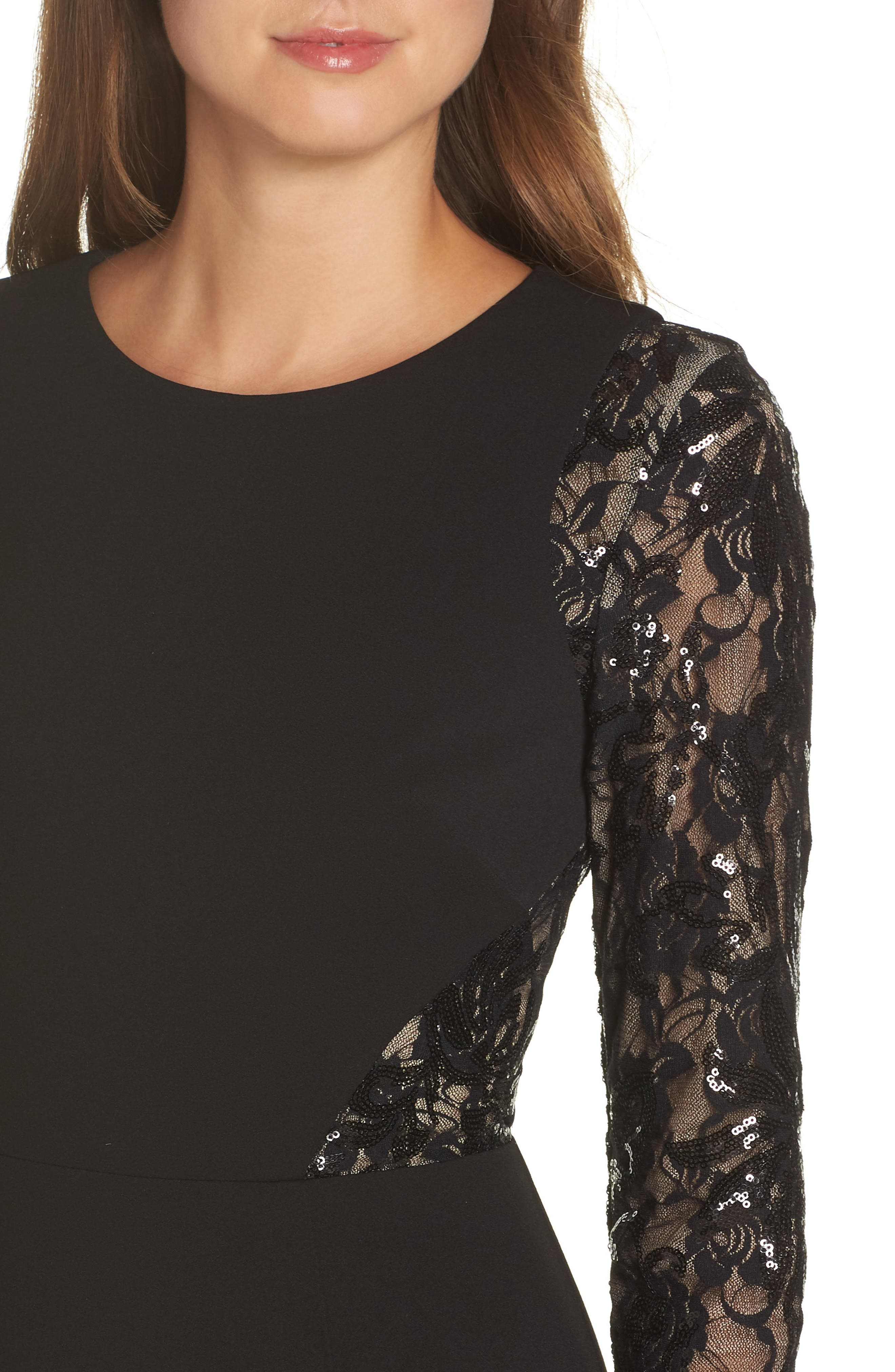 Embellished Lace Gown,                             Alternate thumbnail 4, color,                             BLACK